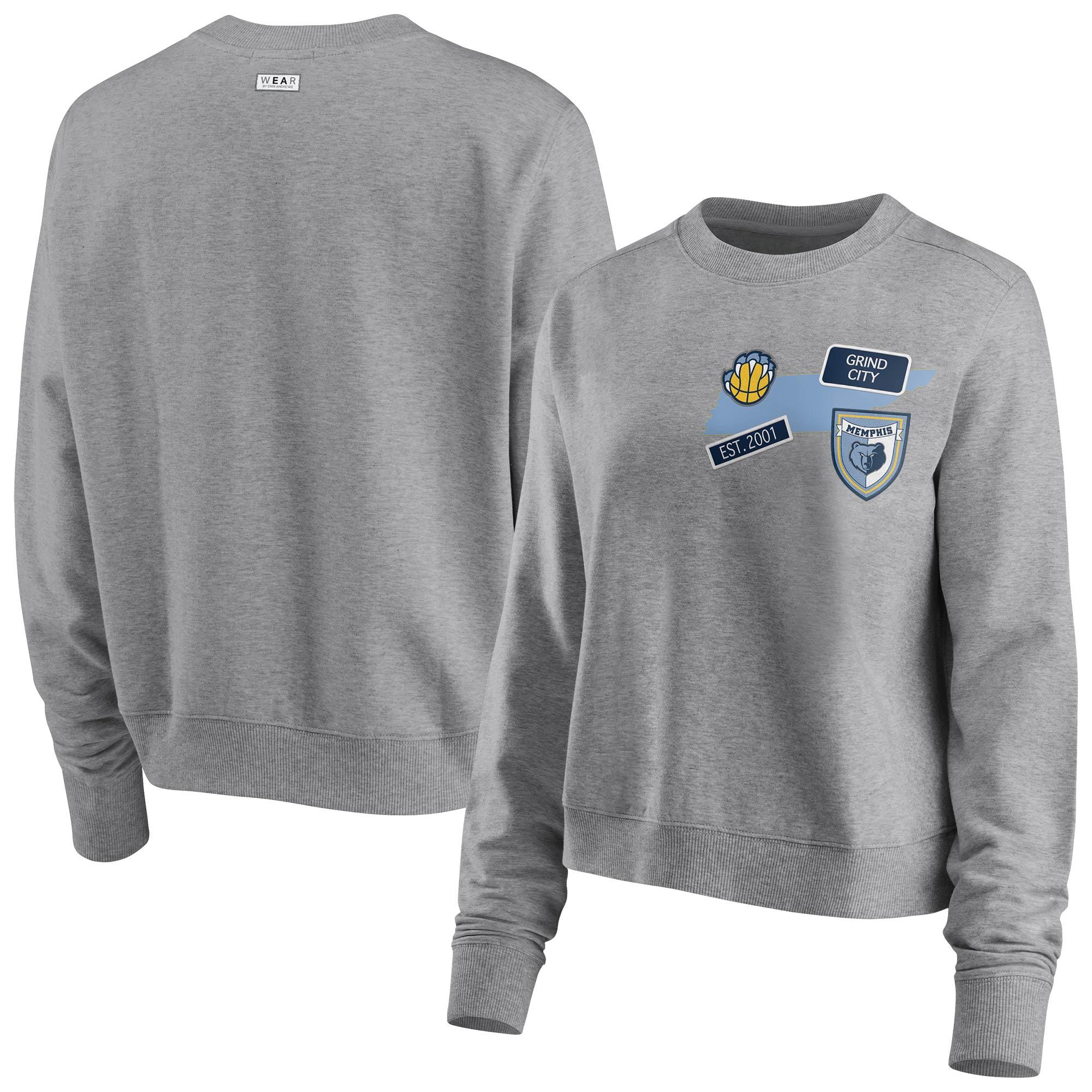 Memphis Grizzlies WEAR by Erin Andrews Women's Patch Applique Pullover Sweatshirt - Heathered Gray
