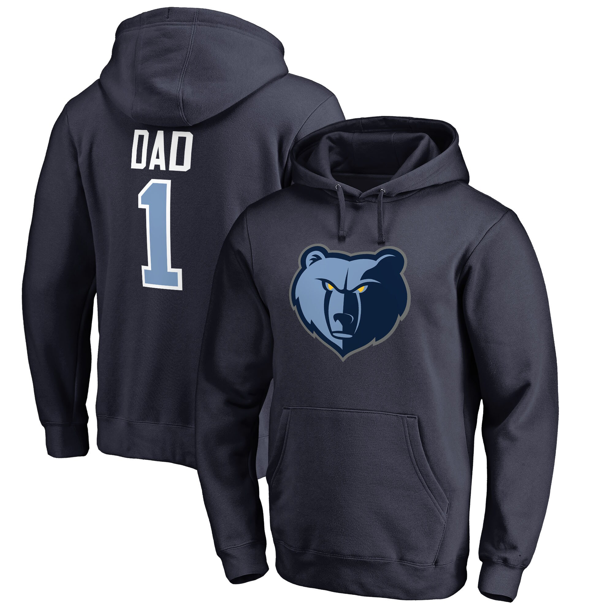 Memphis Grizzlies Fanatics Branded Big & Tall #1 Dad Pullover Hoodie - Navy