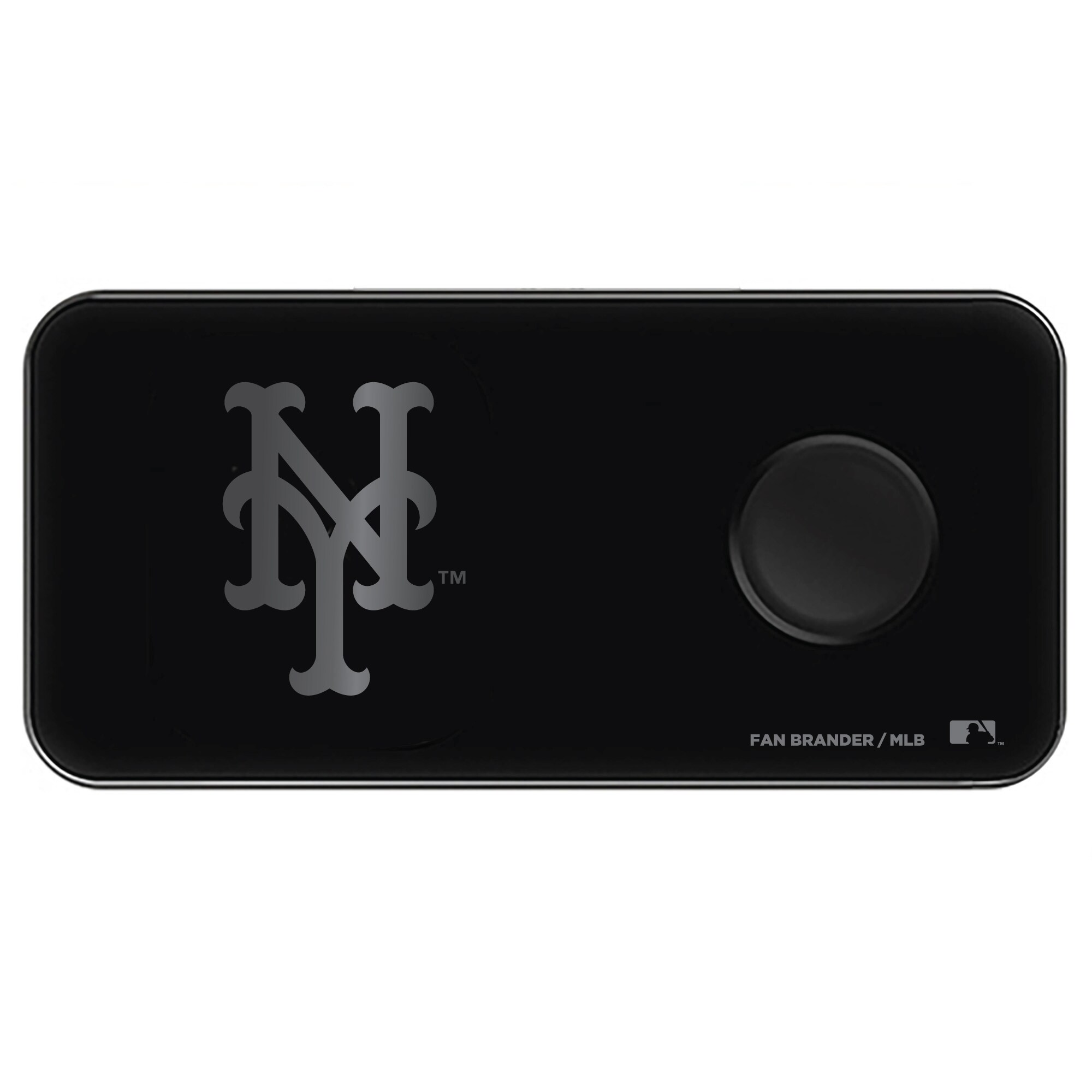 New York Mets 3-in-1 Glass Wireless Charge Pad - Black