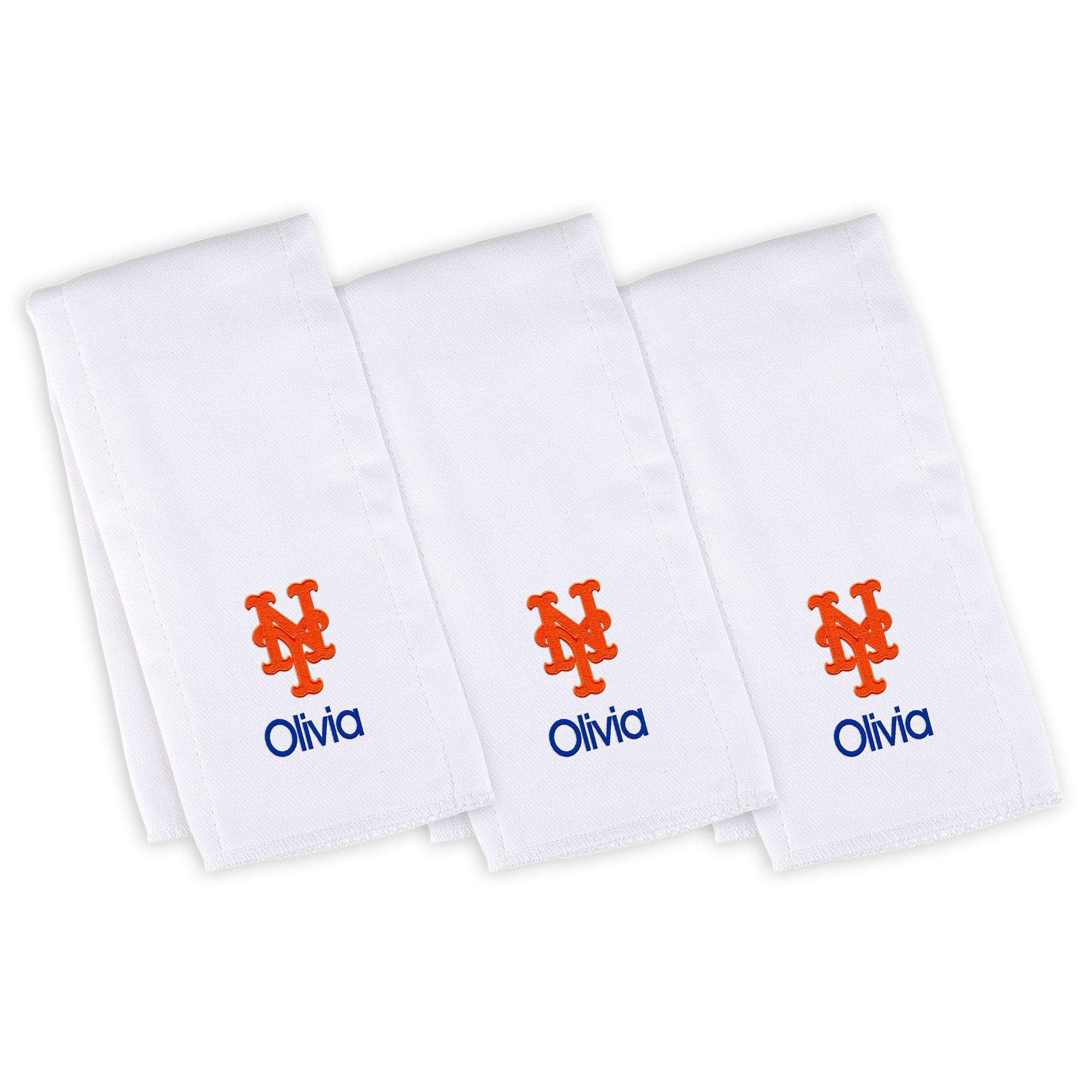 New York Mets Infant Personalized Burp Cloth 3-Pack - White
