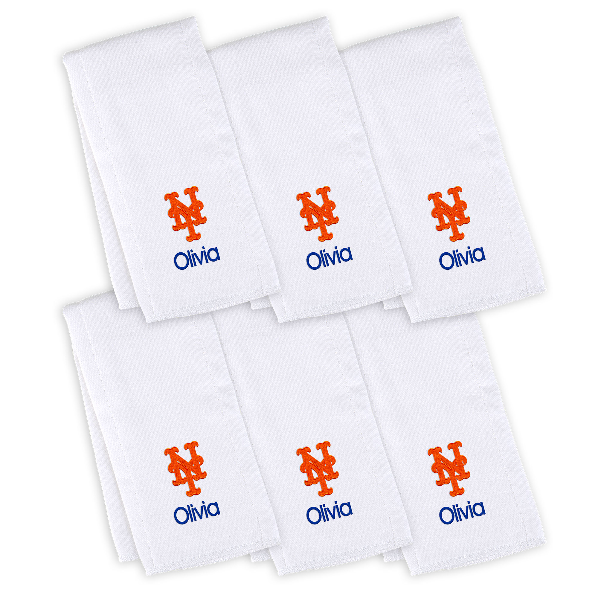 New York Mets Infant Personalized Burp Cloth 6-Pack - White