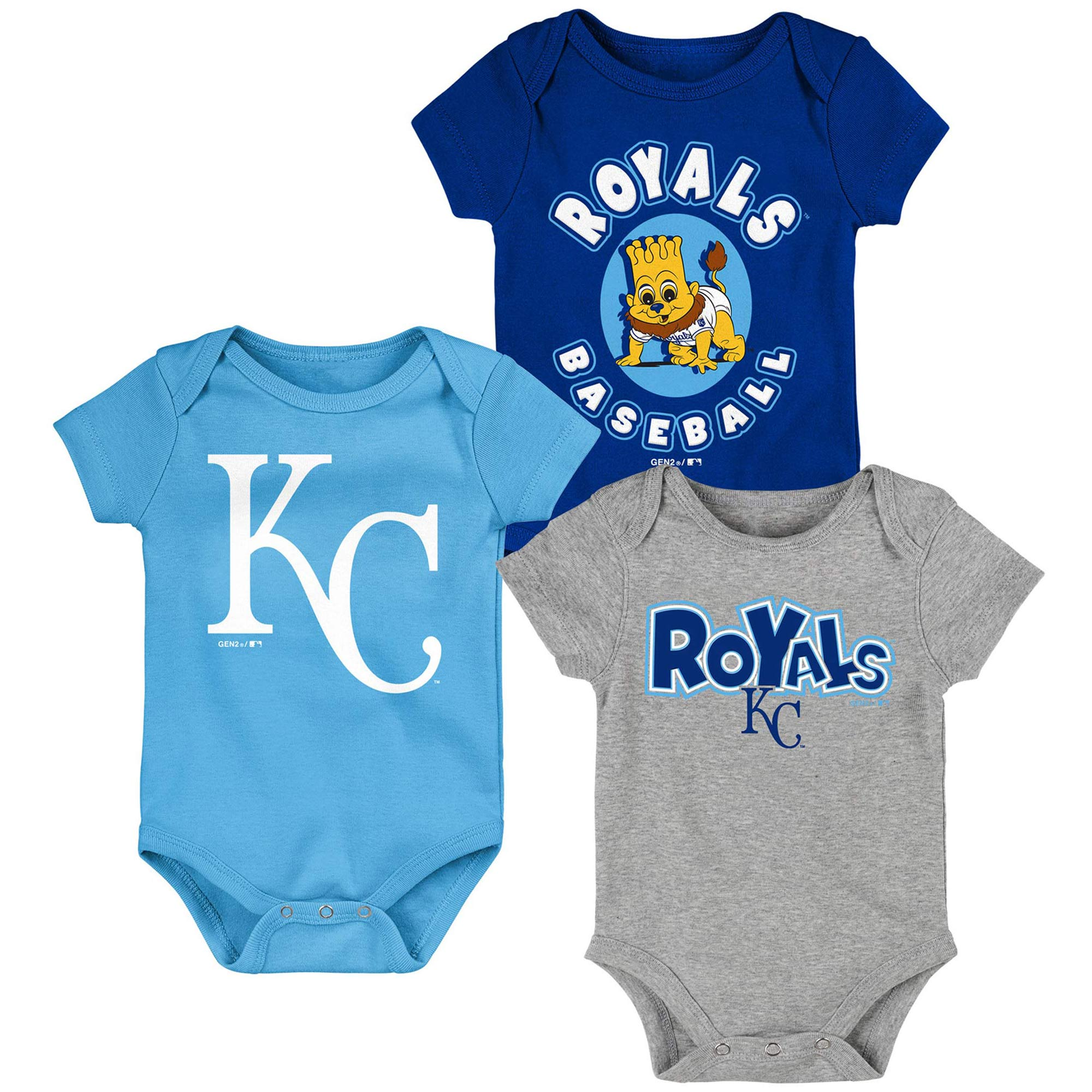 Kansas City Royals Newborn & Infant Everyday Fan Three-Pack Bodysuit Set - Royal/Light Blue/Gray