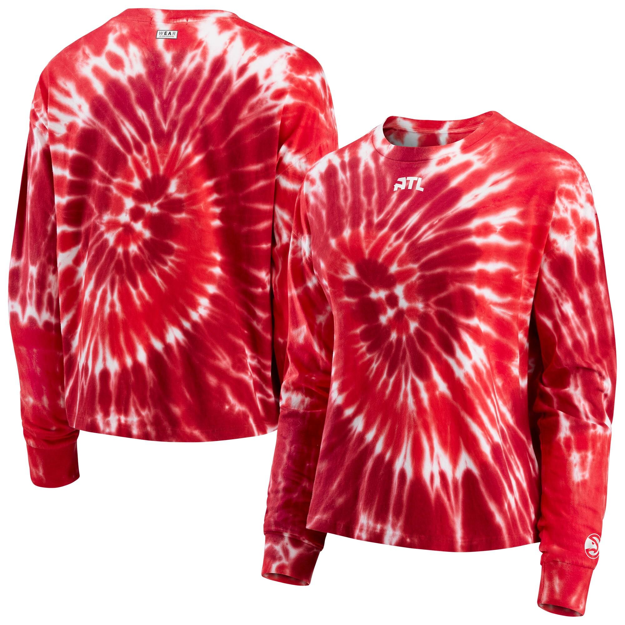 Atlanta Hawks WEAR by Erin Andrews Women's Tie-Dye Long Sleeve T-Shirt - Red