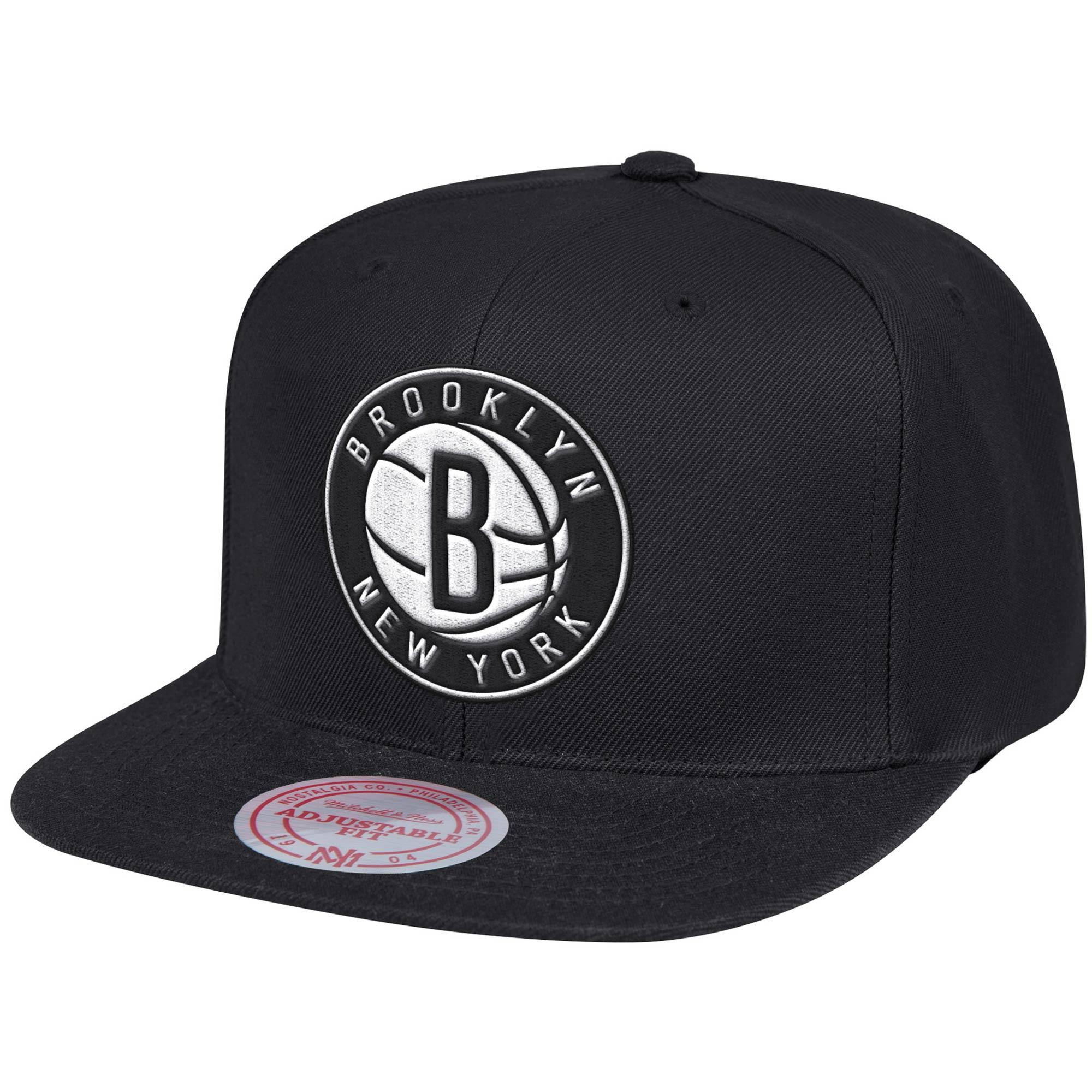Brooklyn Nets Mitchell & Ness Team Ground Snapback Hat - Black