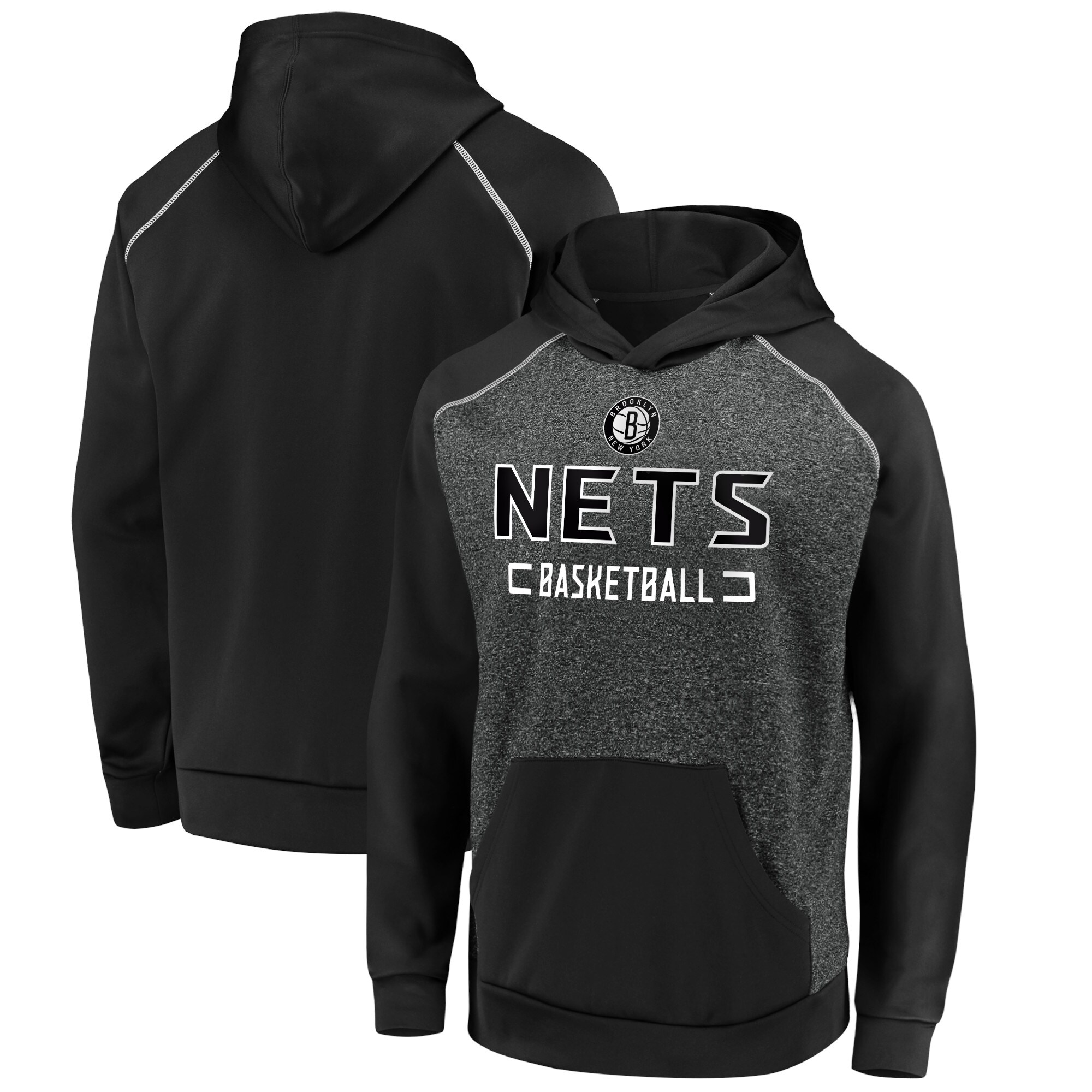 Brooklyn Nets Fanatics Branded Game Day Ready Raglan Pullover Hoodie - Heathered Charcoal/Black