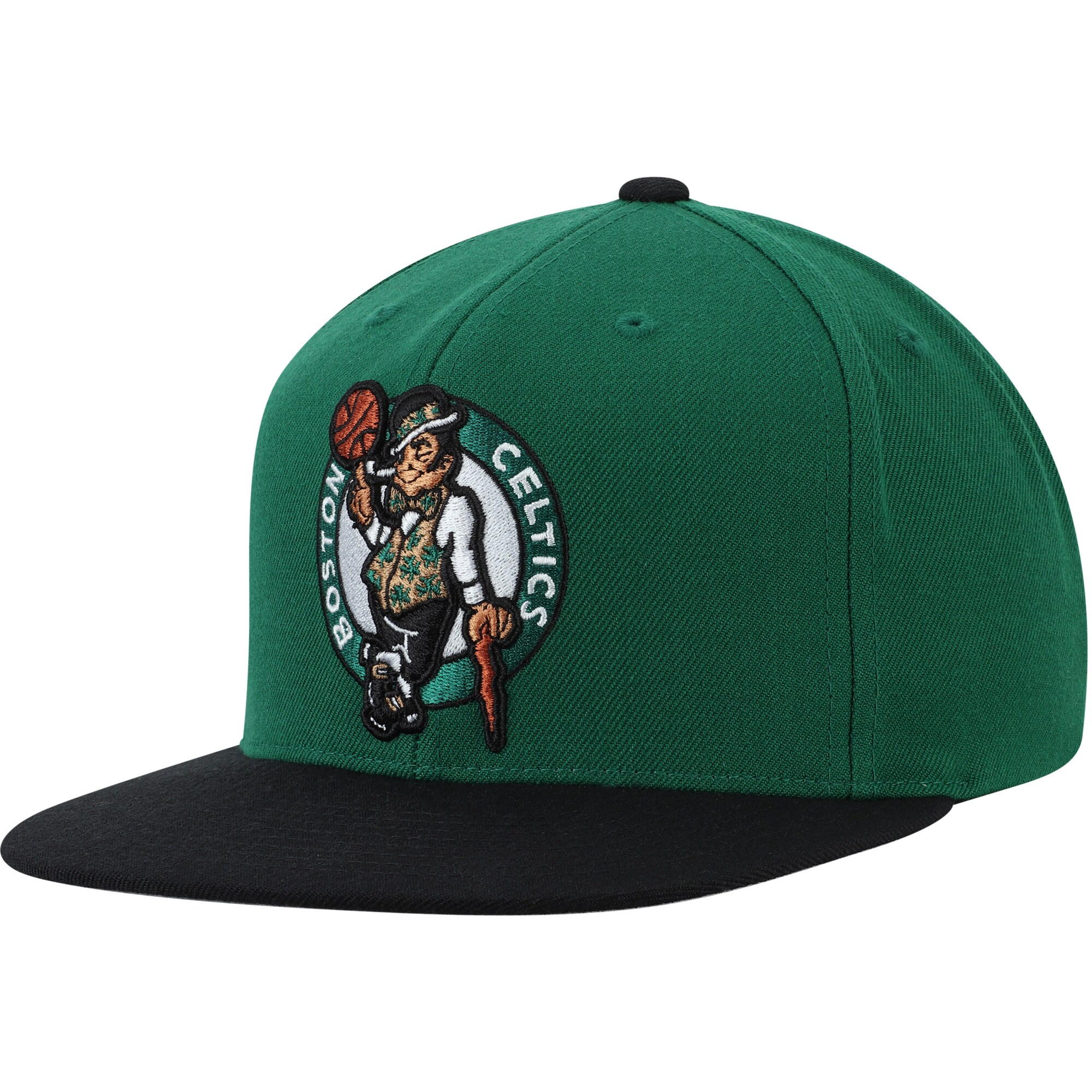 Boston Celtics Mitchell & Ness Two-Tone Wool Snapback Hat - Kelly Green/Black