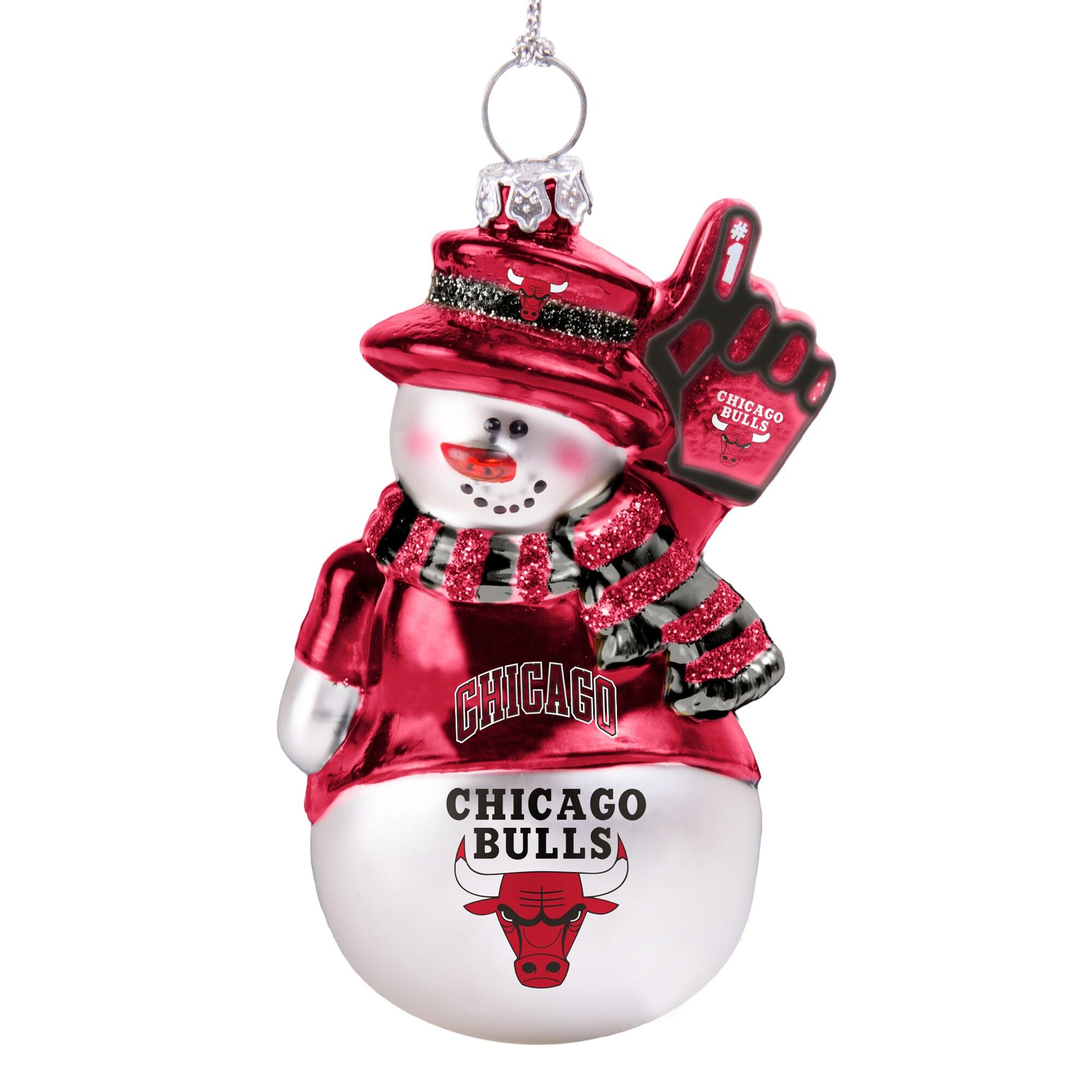Chicago Bulls Glitter Snowman Ornament