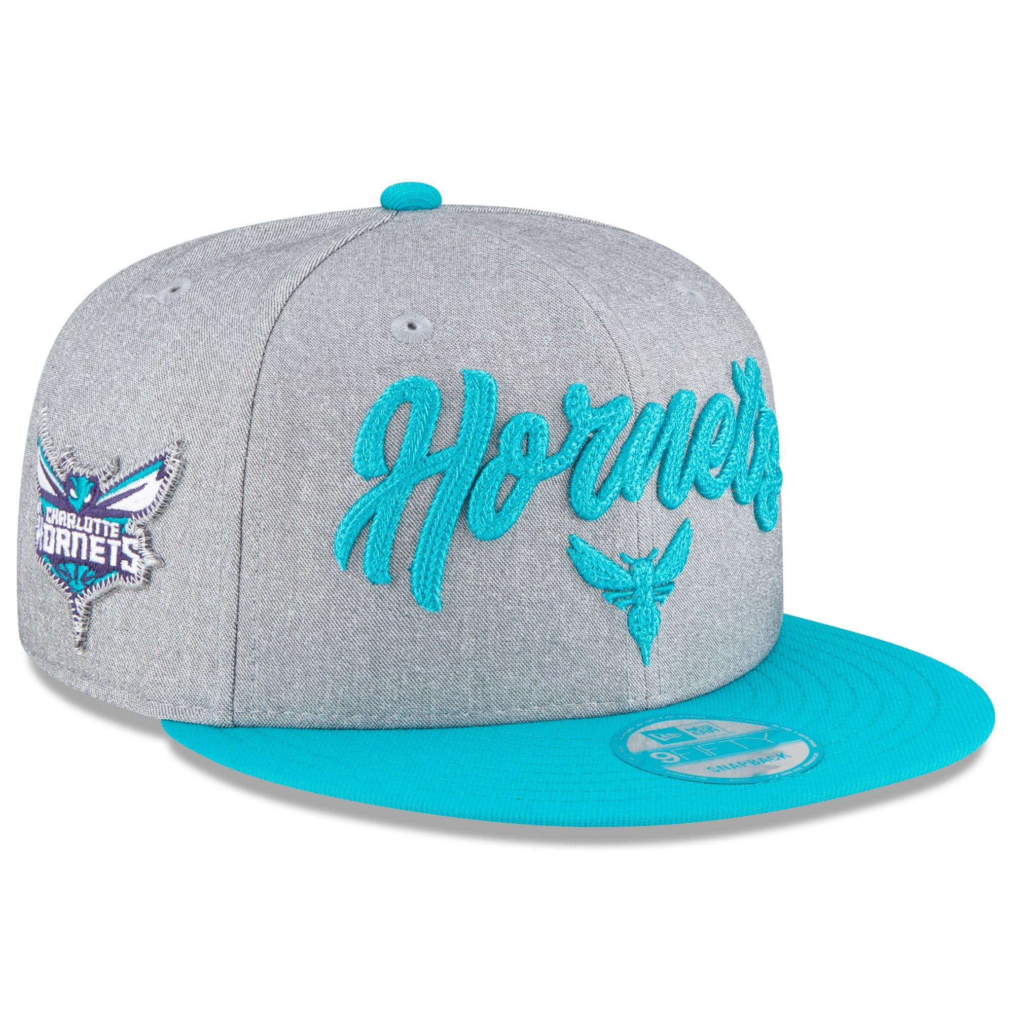 Charlotte Hornets New Era 2020 NBA Draft Official On-Stage 9FIFTY Snapback Adjustable Hat - Heather Gray/Teal