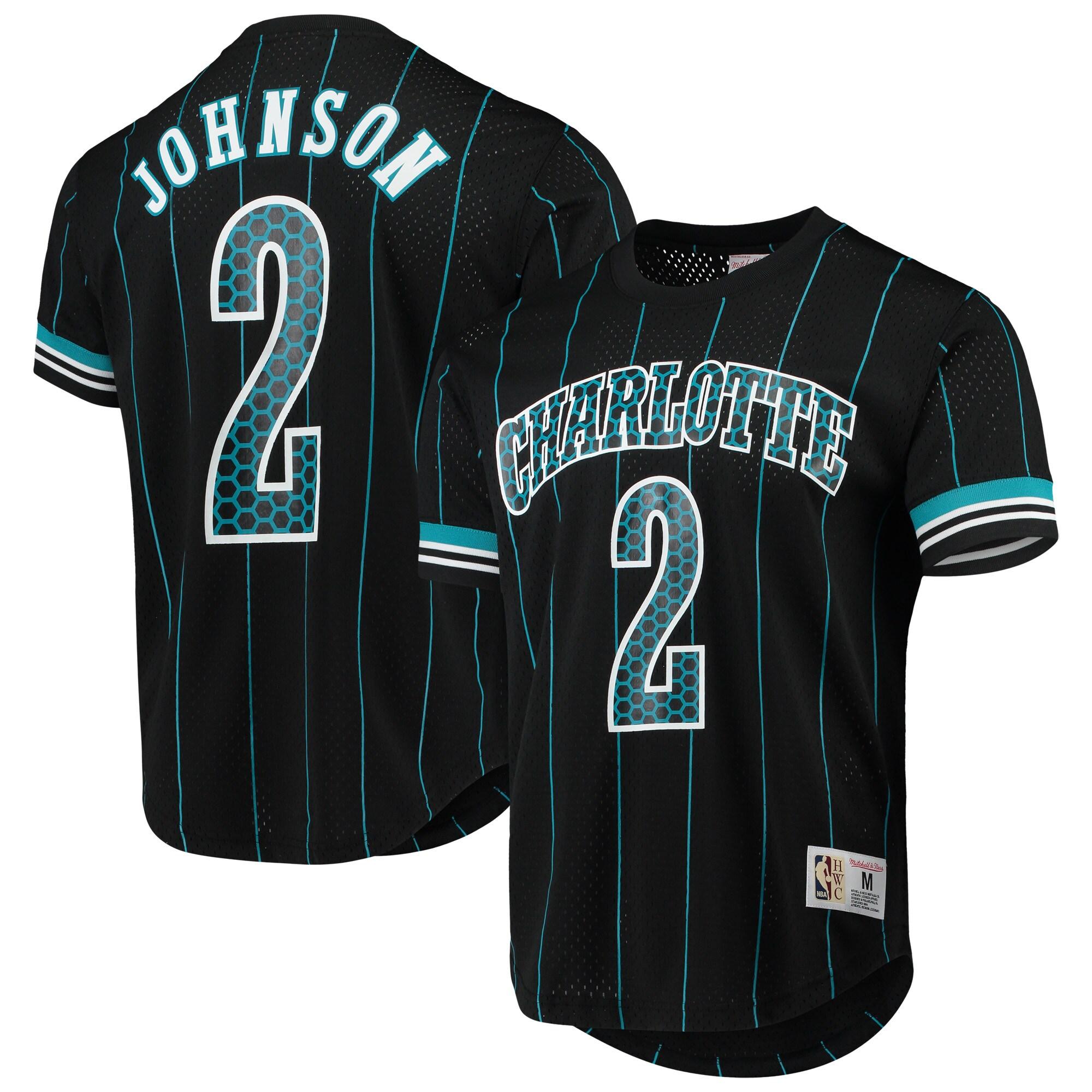 Larry Johnson Charlotte Hornets Mitchell & Ness Player Name & Number T-Shirt - Black