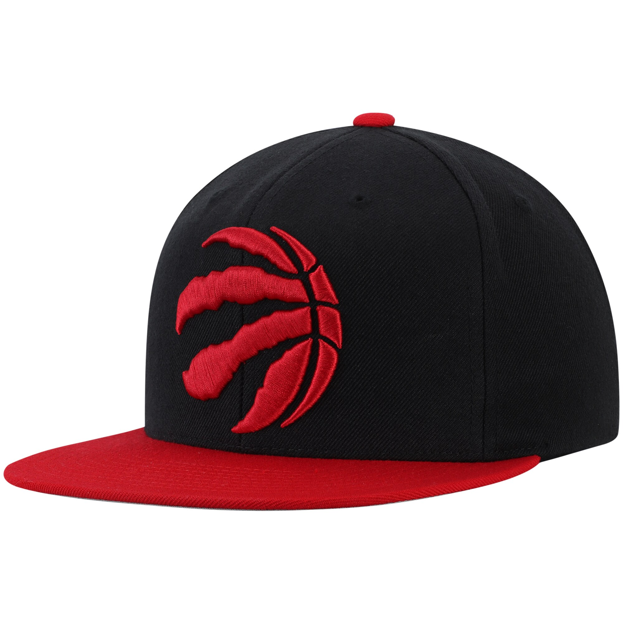 Toronto Raptors Mitchell & Ness Two-Tone Wool Snapback Hat - Black/Red