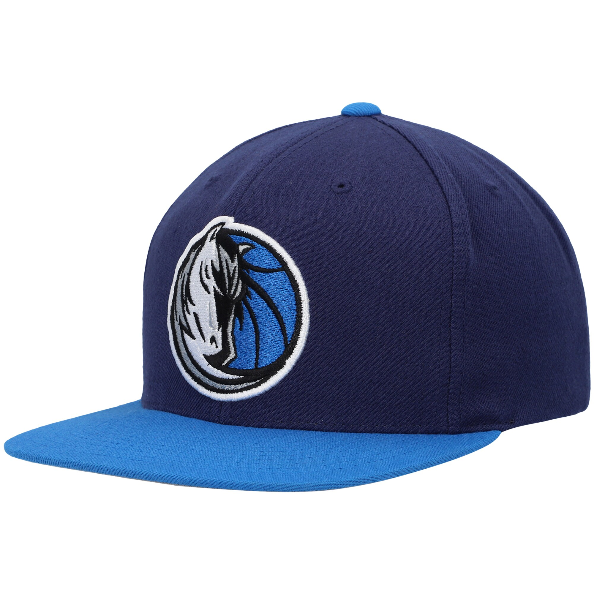 Dallas Mavericks Mitchell & Ness Two-Tone Wool Snapback Hat - Navy/Blue