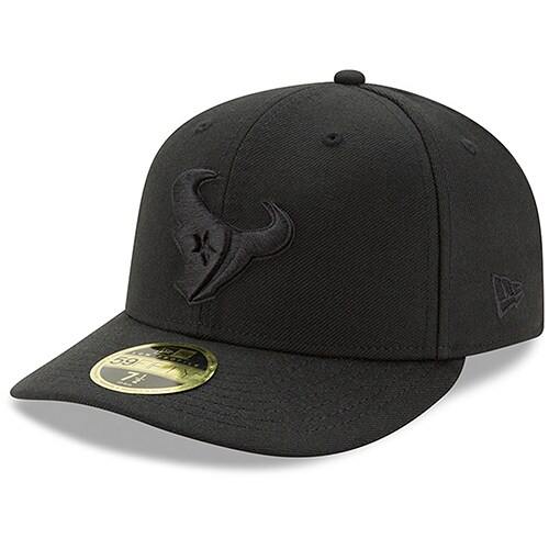 Houston Texans New Era Black On Black Low Profile 59FIFTY Fitted Hat