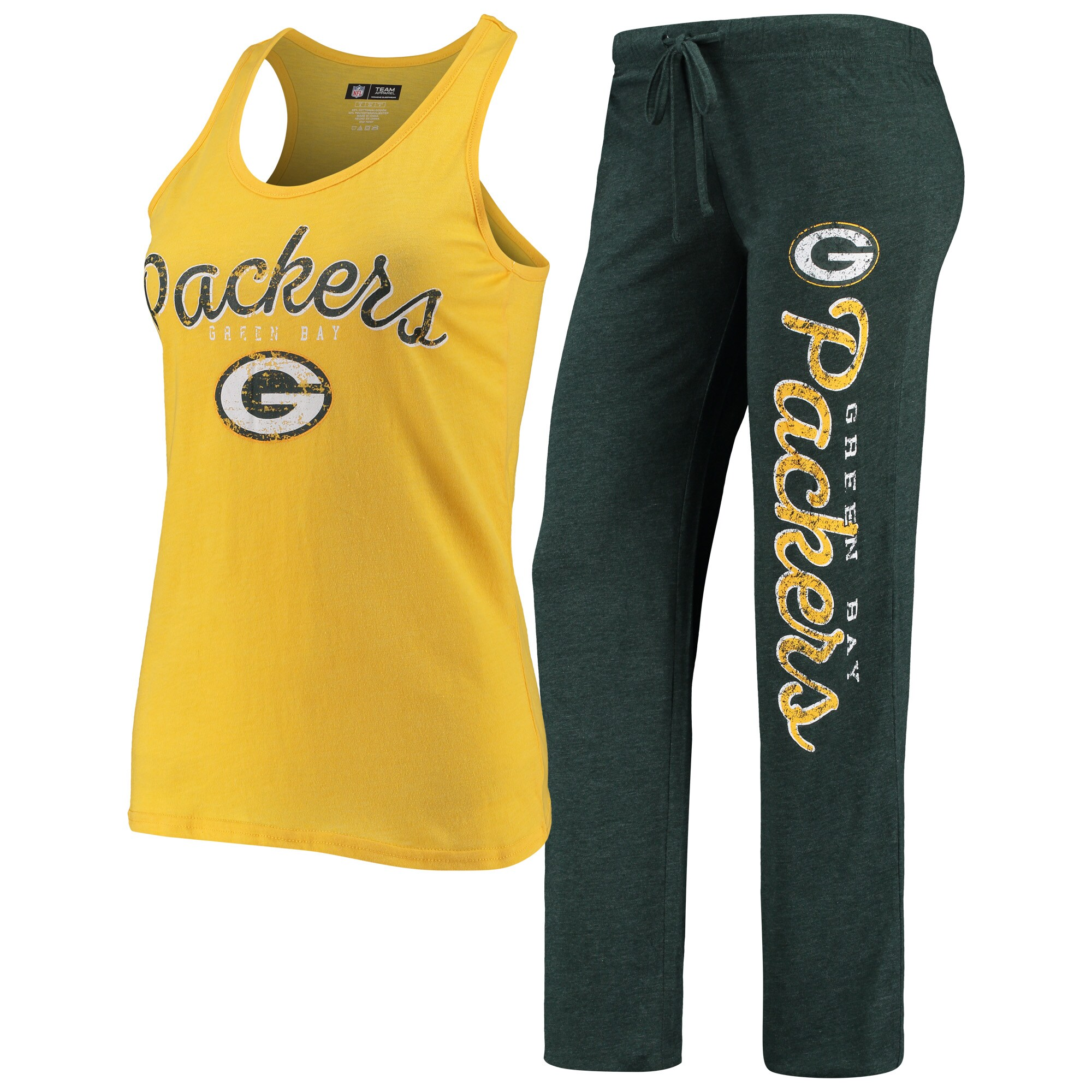 Green Bay Packers Concepts Sport Women's Topic Tank Top & Pants Sleep Set - Gold/Heathered Green