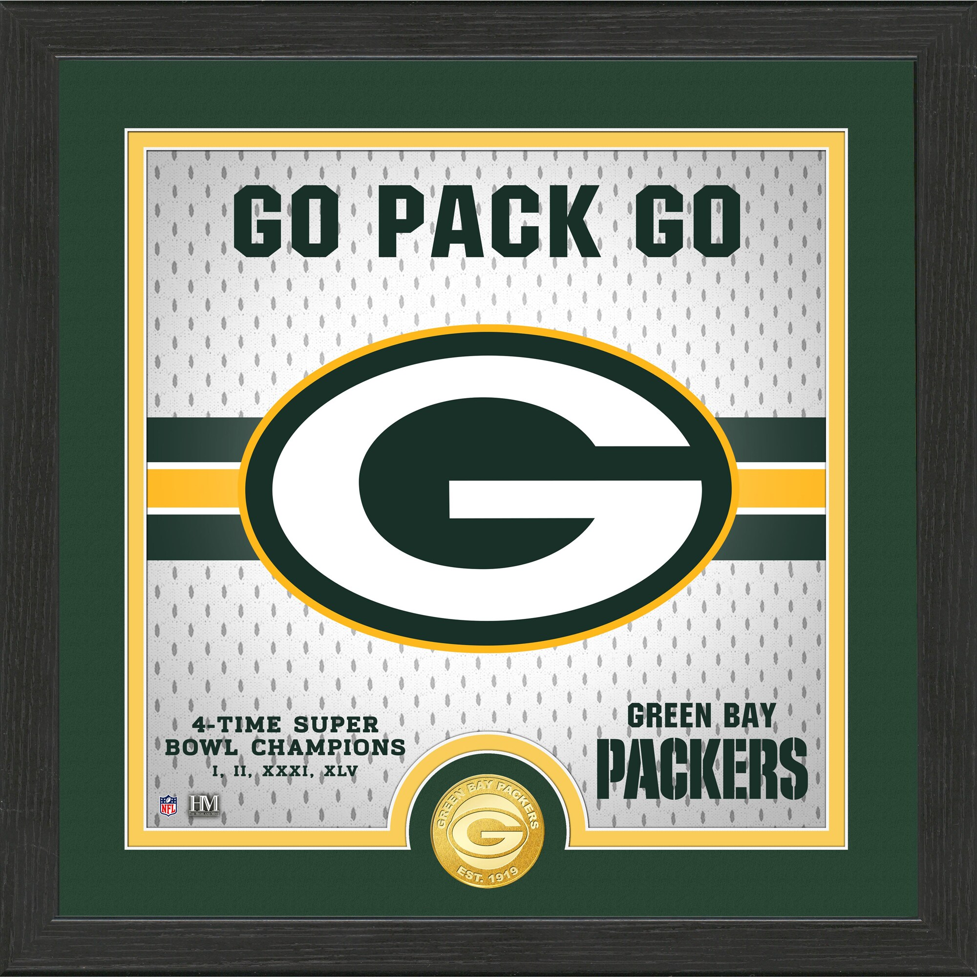 Green Bay Packers Highland Mint 13'' x 13'' Battle Cry Bronze Coin Photo Mint