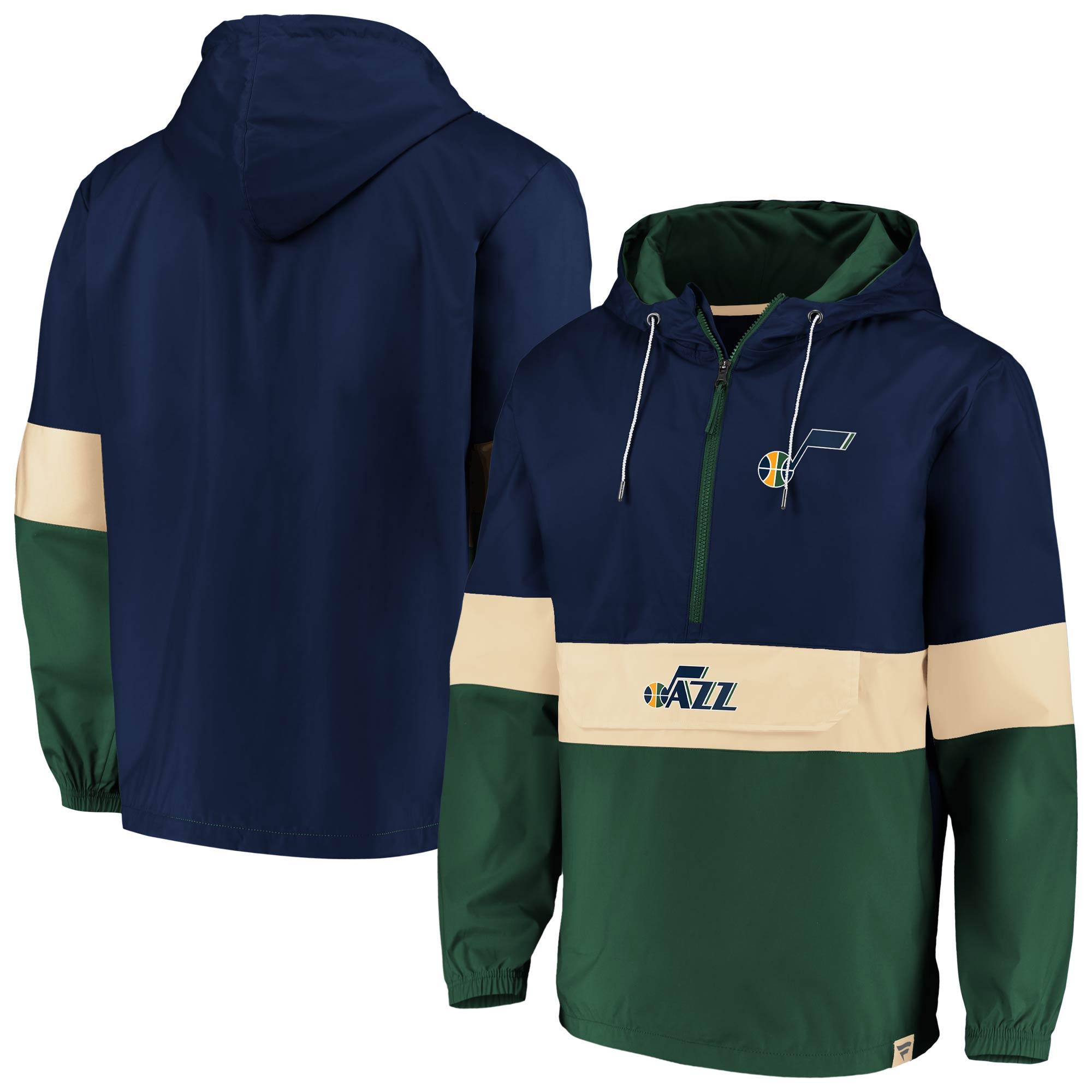 Utah Jazz Fanatics Branded True Classics Lead Blocker Anorak Hoodie Half-Zip Windbreaker Jacket - Navy/Green