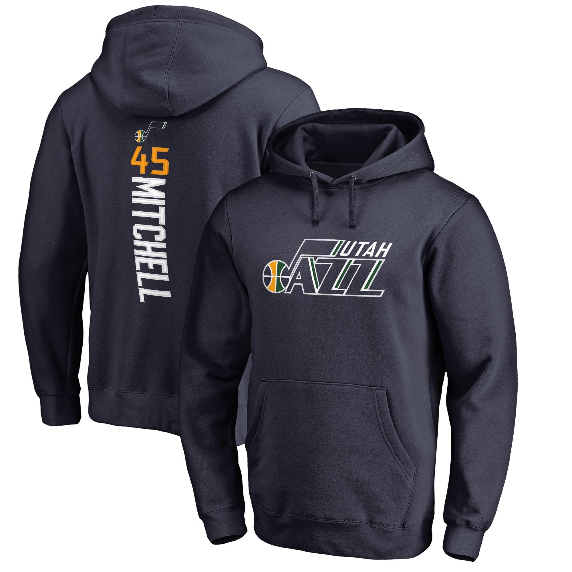 Donovan Mitchell Utah Jazz Fanatics Branded Big & Tall Backer Name & Number Pullover Hoodie - Navy