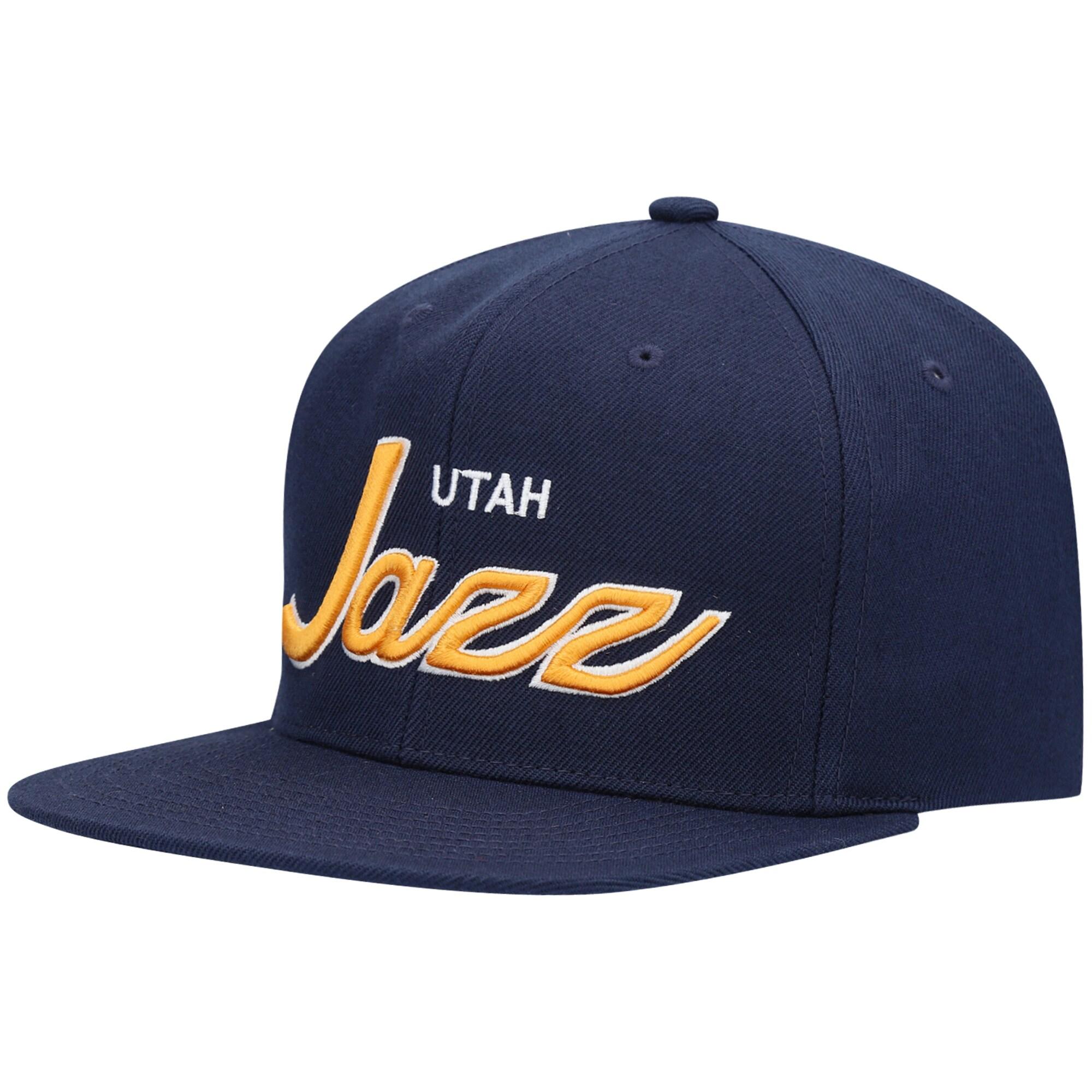 Utah Jazz Mitchell & Ness 2020 Playoffs Script Snapback Hat - Navy