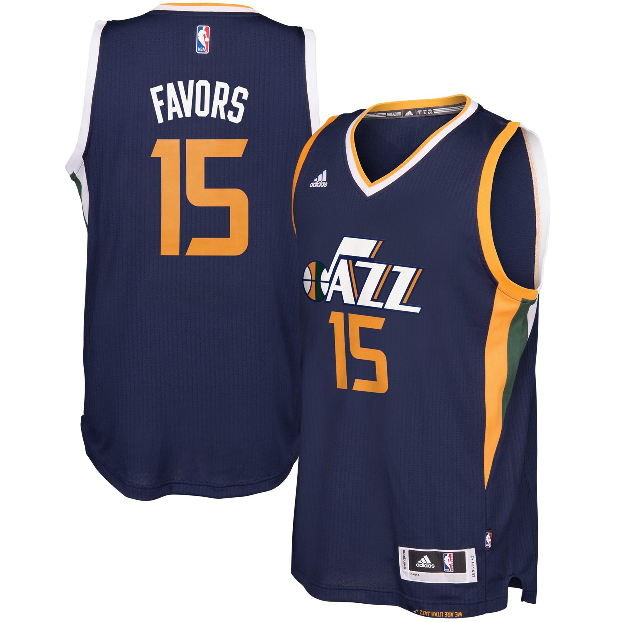 Derrick Favors Utah Jazz adidas Road Swingman climacool Jersey - Navy