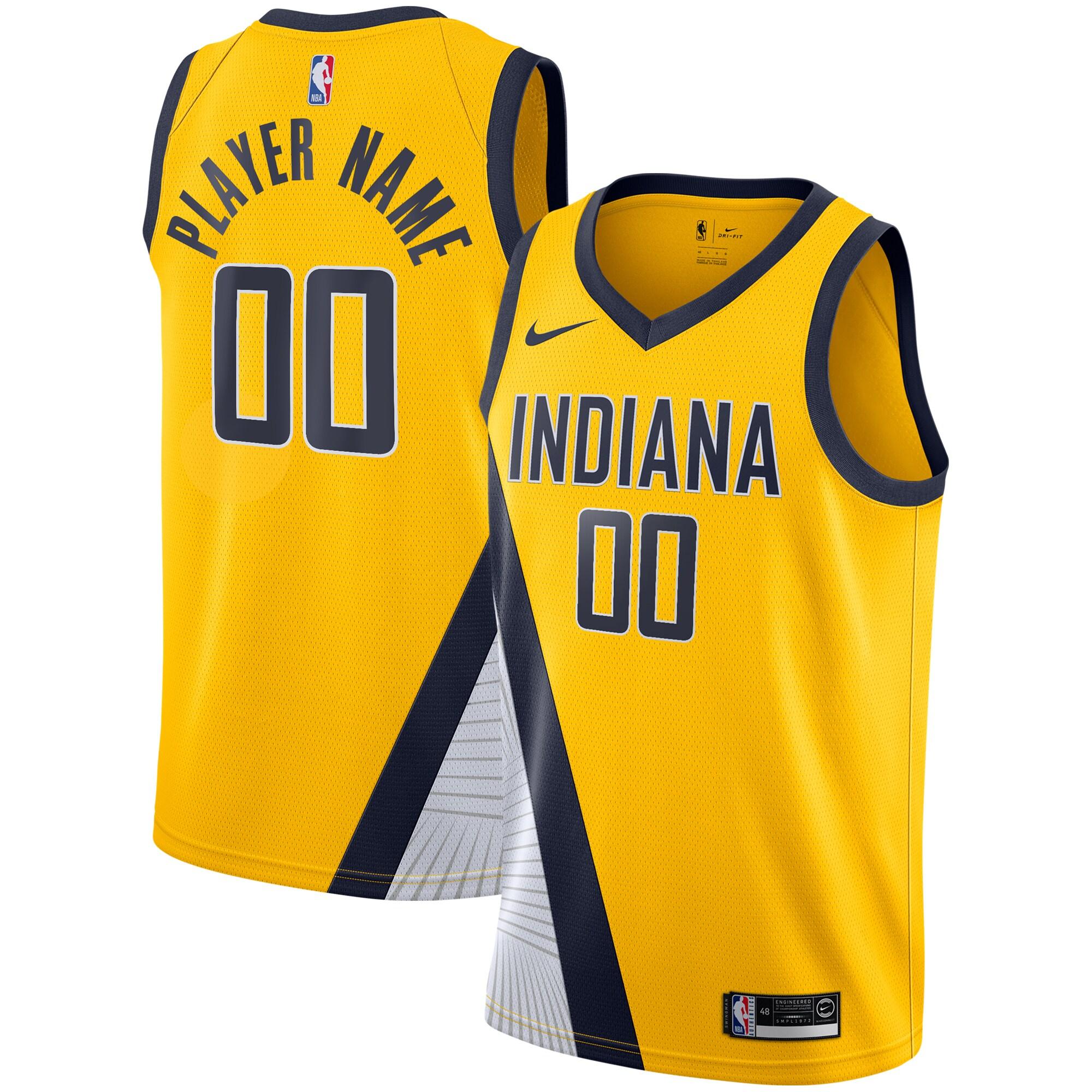 Indiana Pacers Nike 2019/20 Custom Swingman Jersey Yellow - Statement Edition