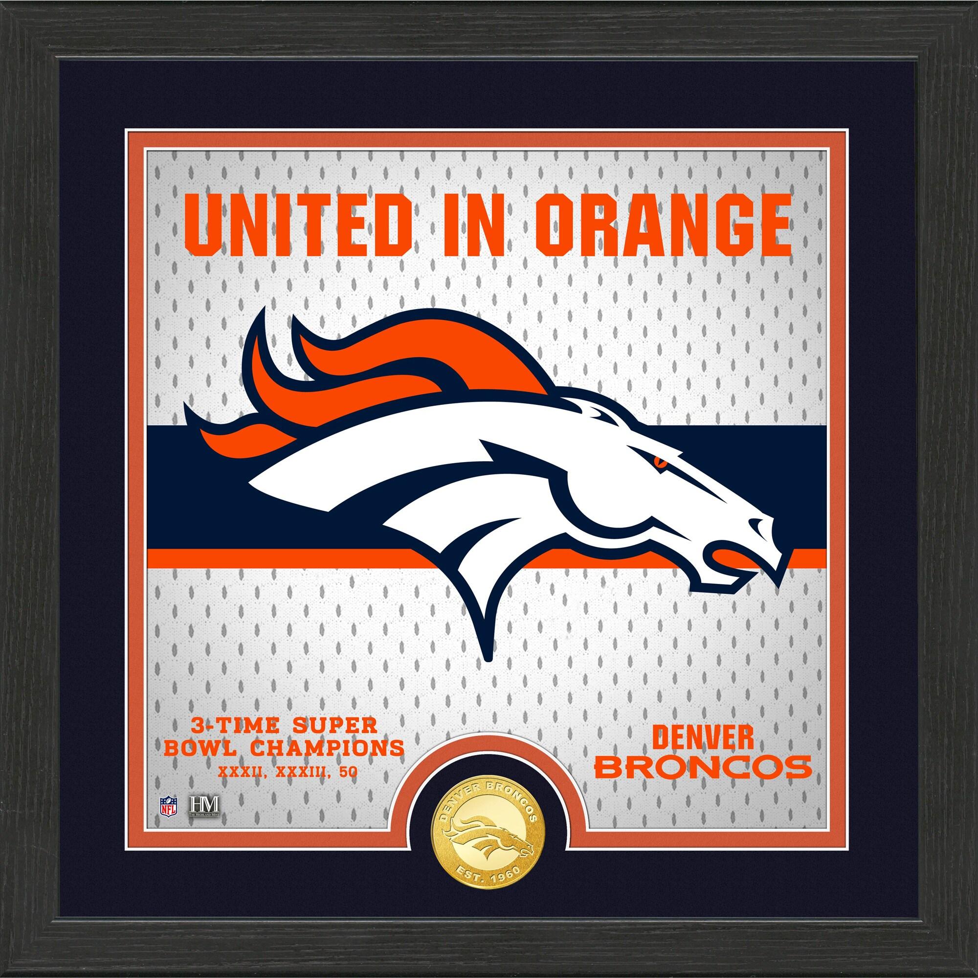 Denver Broncos Highland Mint 13'' x 13'' Battle Cry Bronze Coin Photo Mint