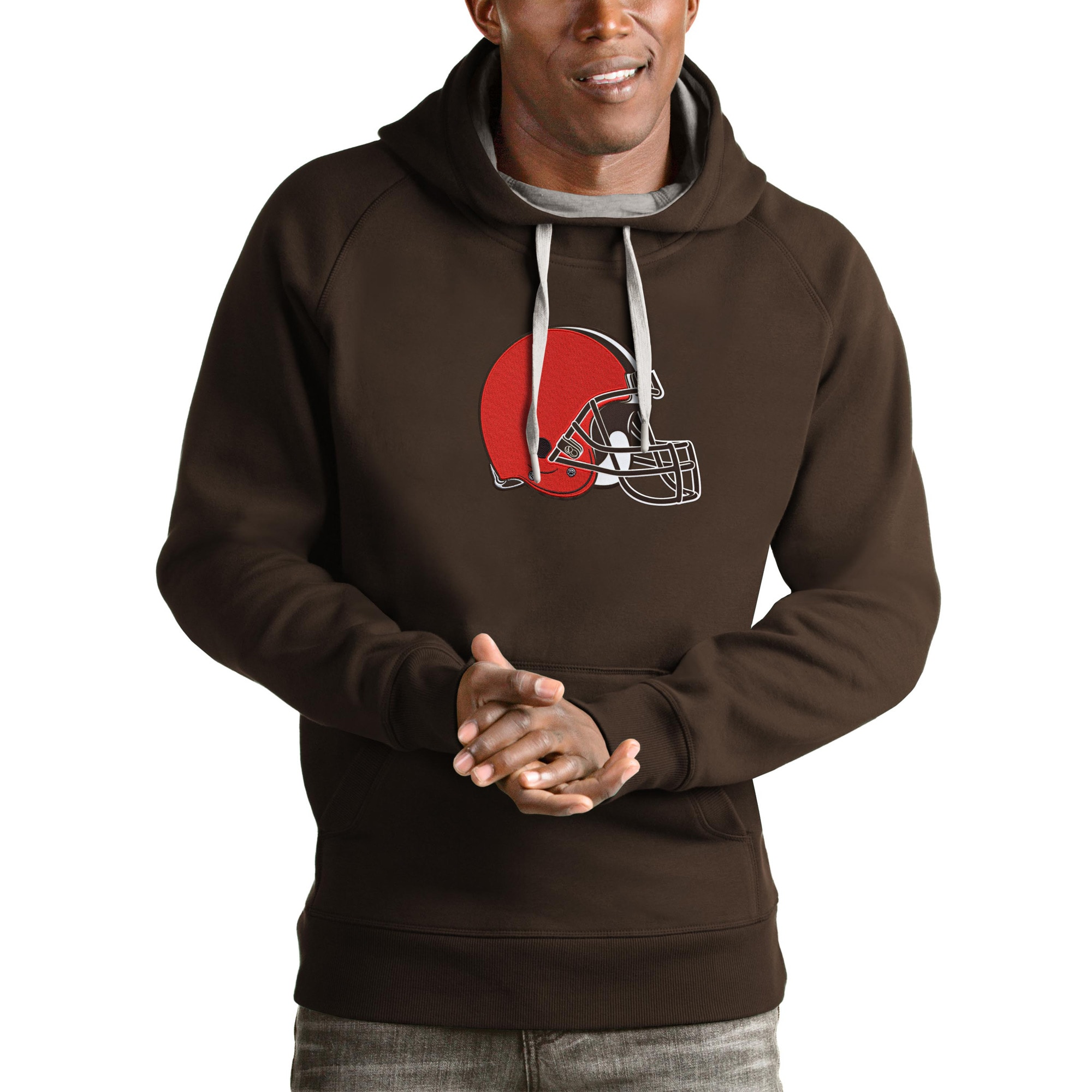 Cleveland Browns Antigua Victory Pullover Hoodie - Brown