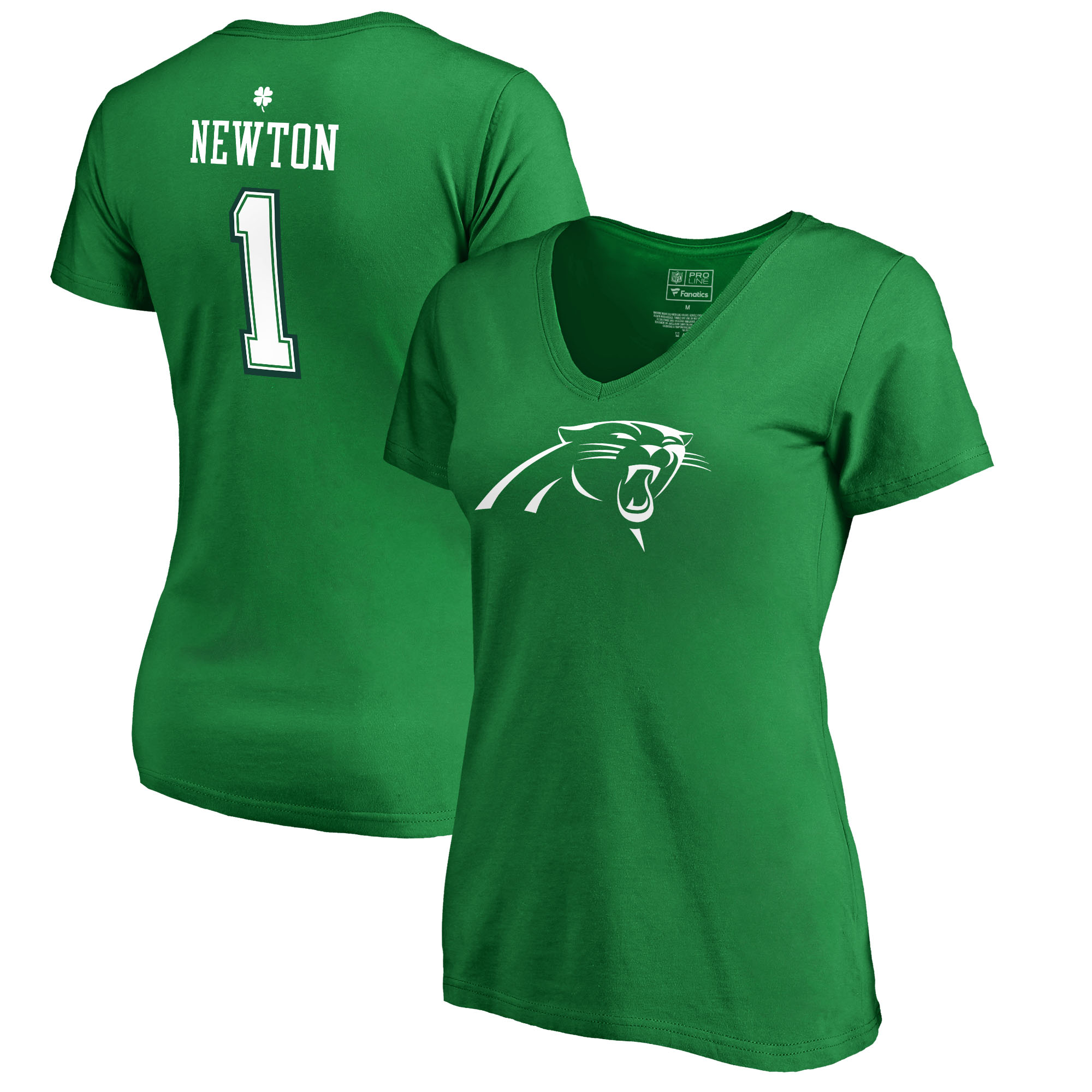 Cam Newton Carolina Panthers NFL Pro Line by Fanatics Branded Women's St. Patrick's Day Icon V-Neck Name & Number T-Shirt - Kelly Green