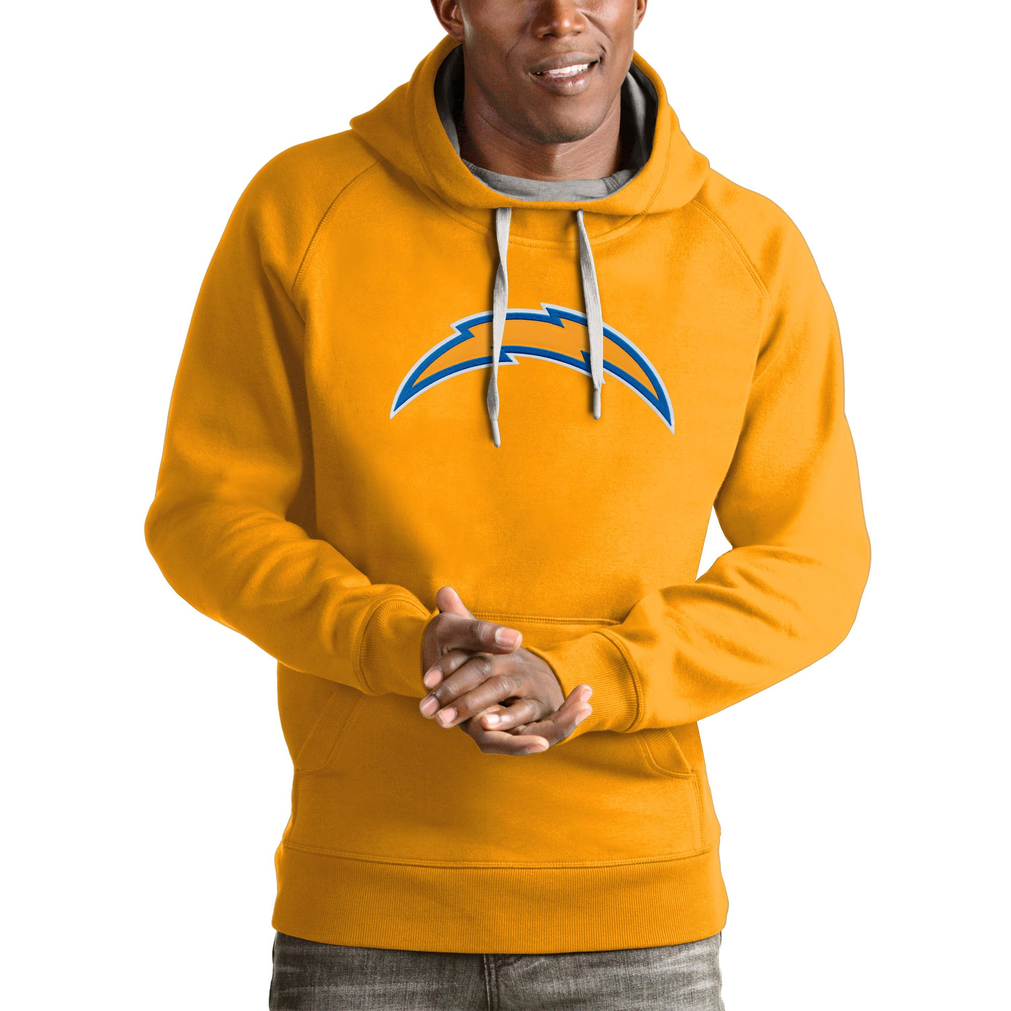Los Angeles Chargers Antigua Victory Pullover Hoodie - Gold