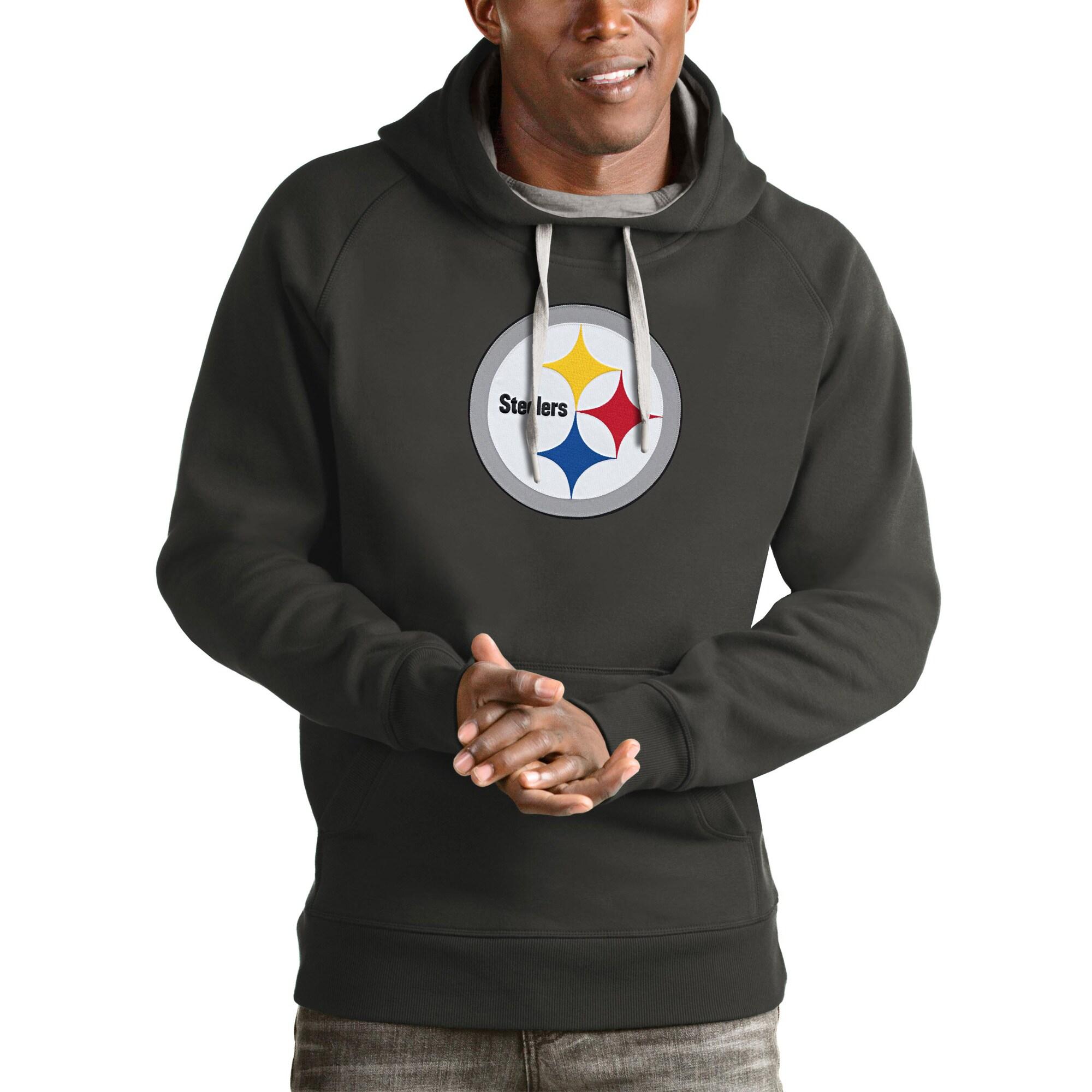 Pittsburgh Steelers Antigua Victory Pullover Hoodie - Charcoal