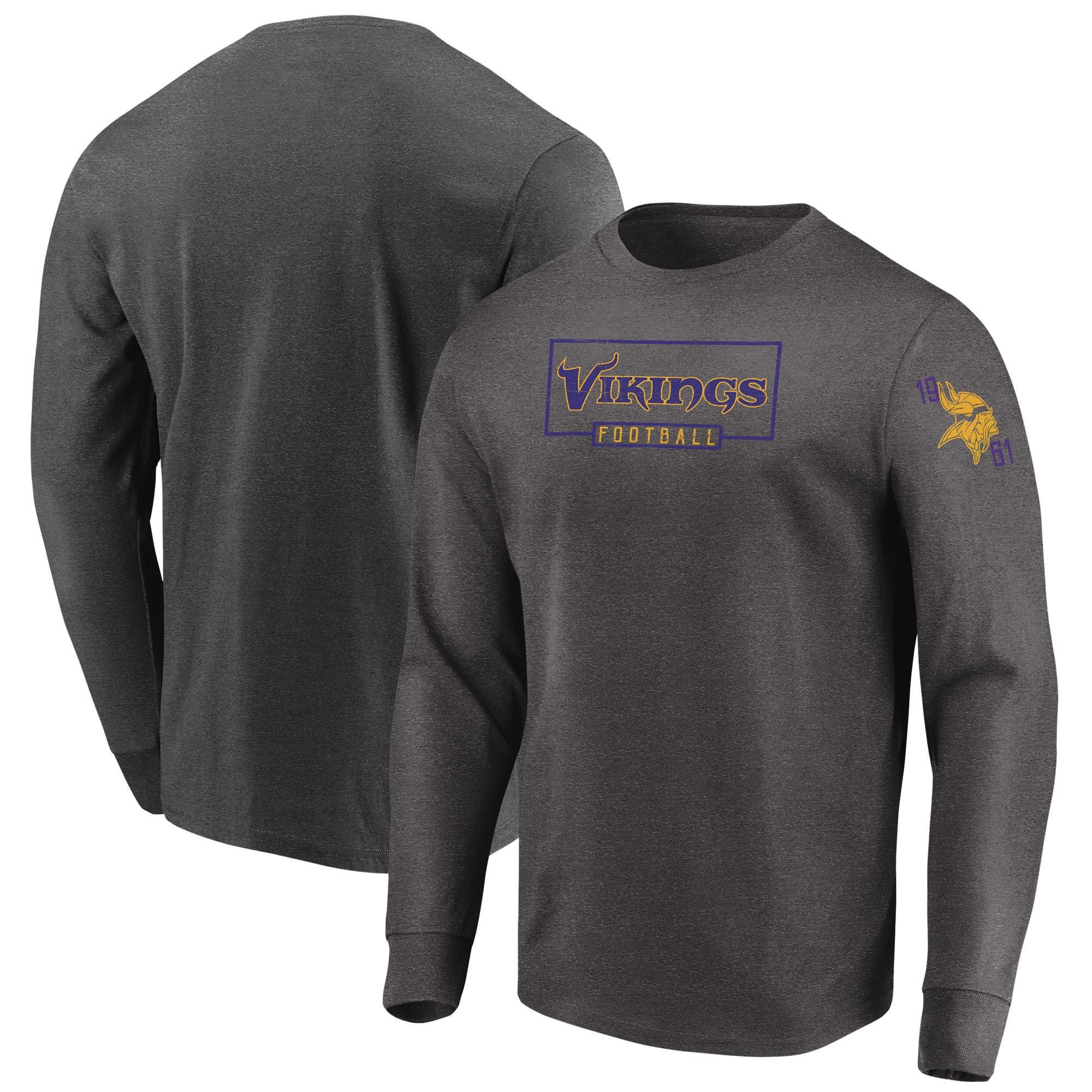 Minnesota Vikings Majestic Big & Tall Kick Return Long Sleeve T-Shirt - Heathered Charcoal