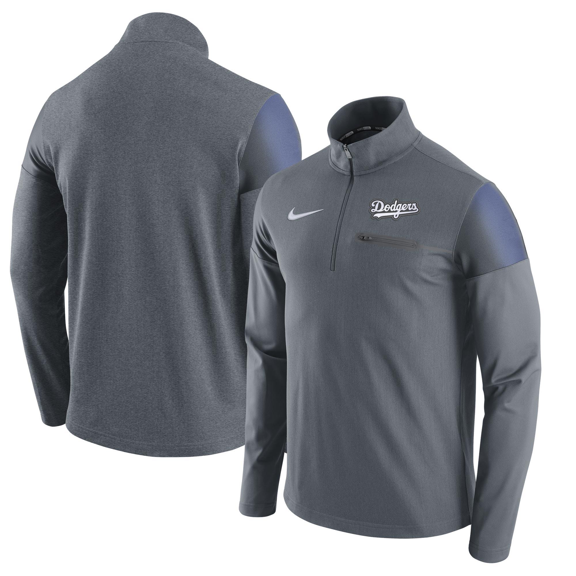 Los Angeles Dodgers Nike Elite Half-Zip Pullover Jacket - Gray