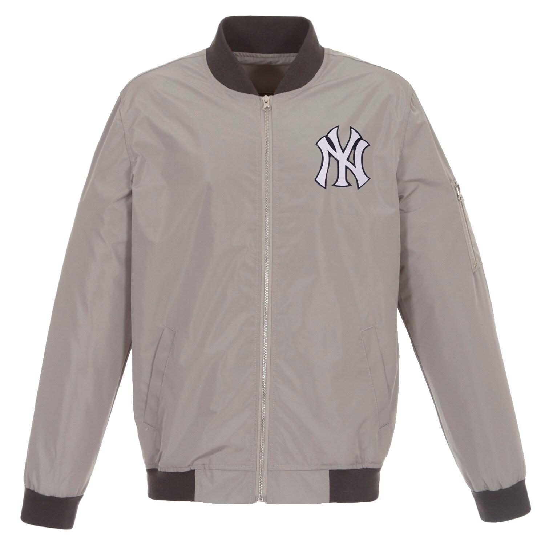 New York Yankees JH Design Lightweight Nylon Bomber Jacket - Gray