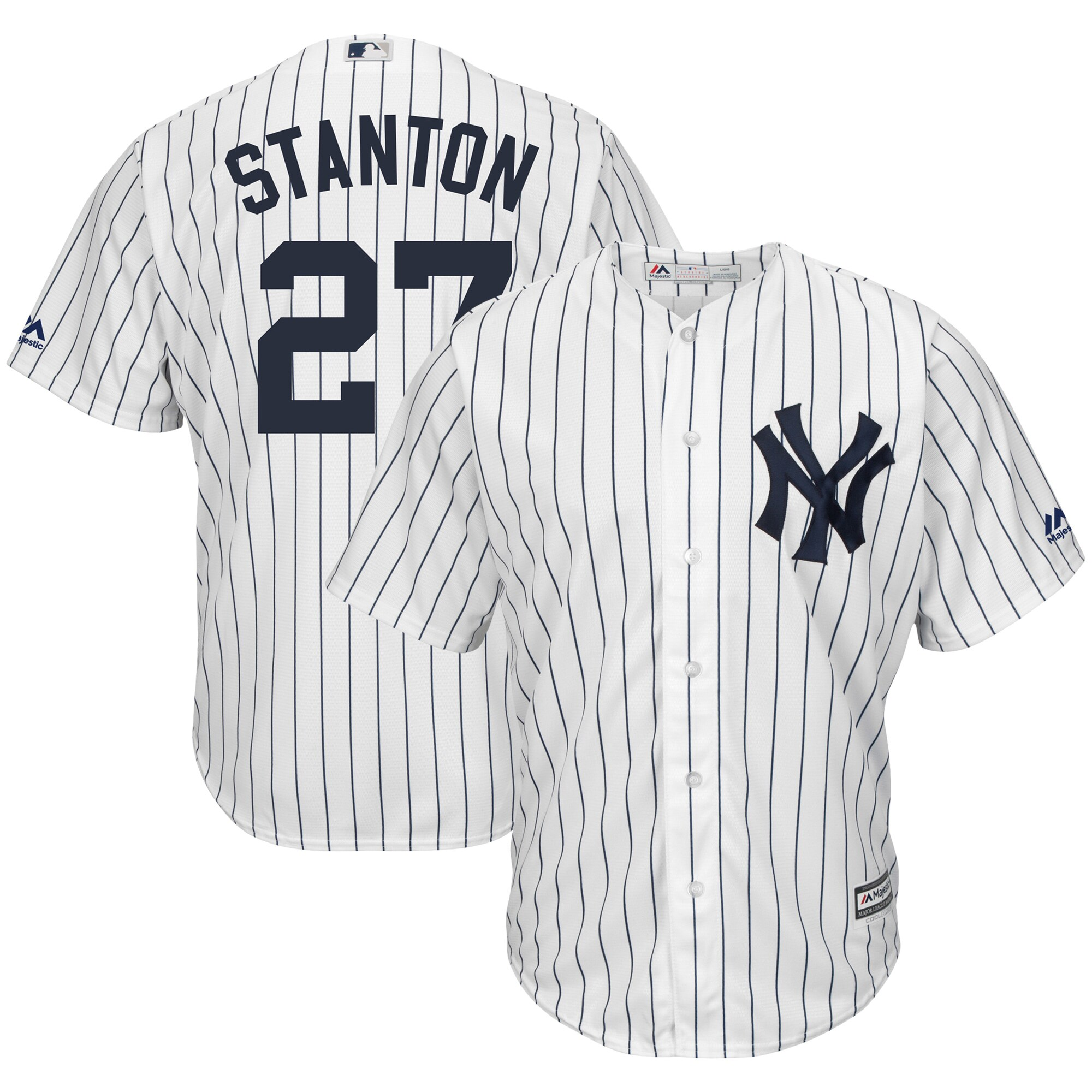 Giancarlo Stanton New York Yankees Majestic Home Big & Tall Cool Base Player Jersey - White/Navy