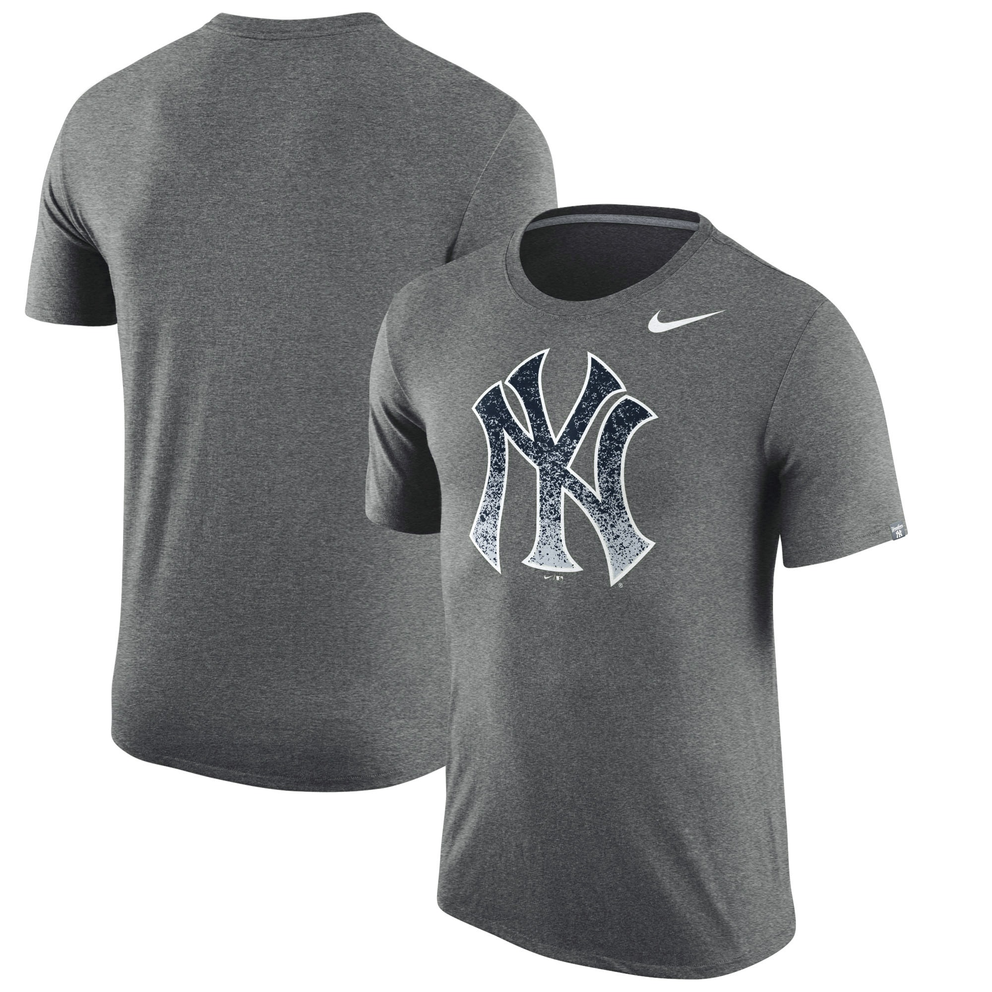 New York Yankees Nike Tri-Blend T-Shirt - Heathered Charcoal