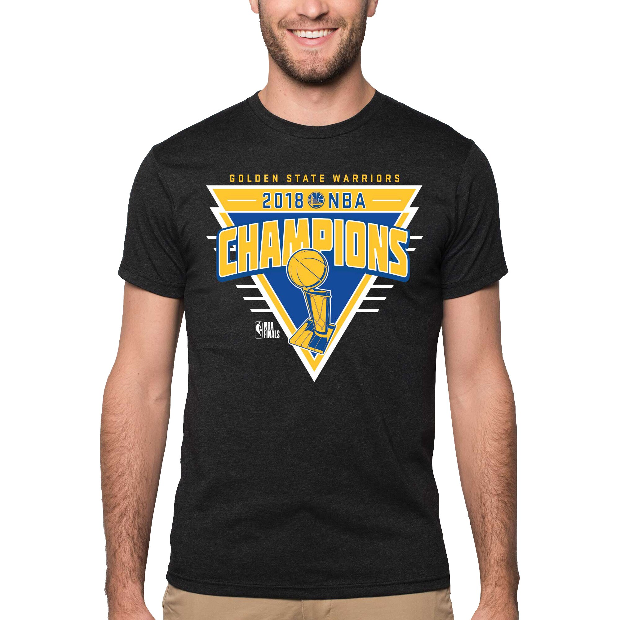 Golden State Warriors Sportiqe 2018 NBA Finals Champions Retro Supersoft Comfy Tri-Blend T-Shirt - Black