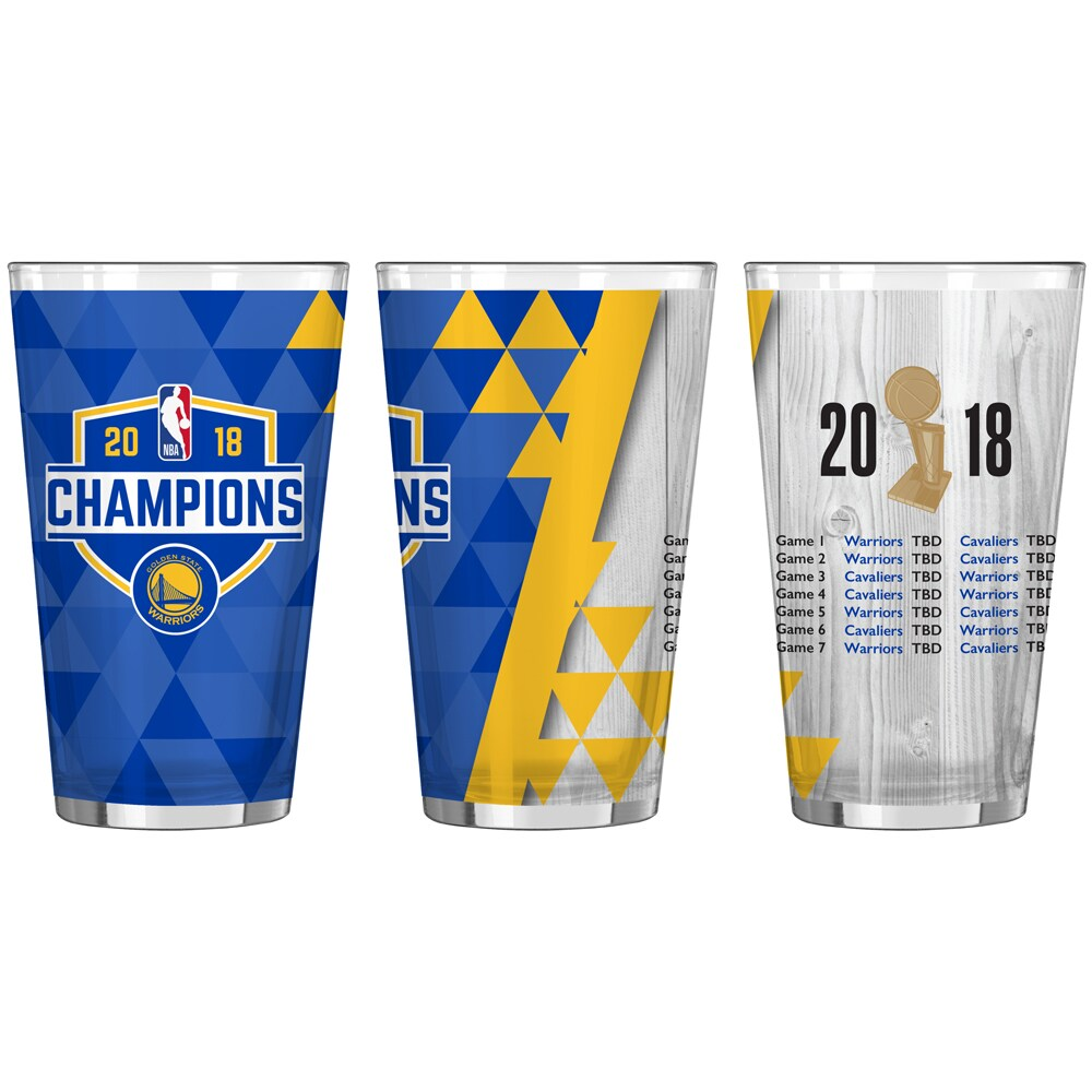 Golden State Warriors 2018 NBA Finals Champions 16oz. Summary Sublimated Pint Glass