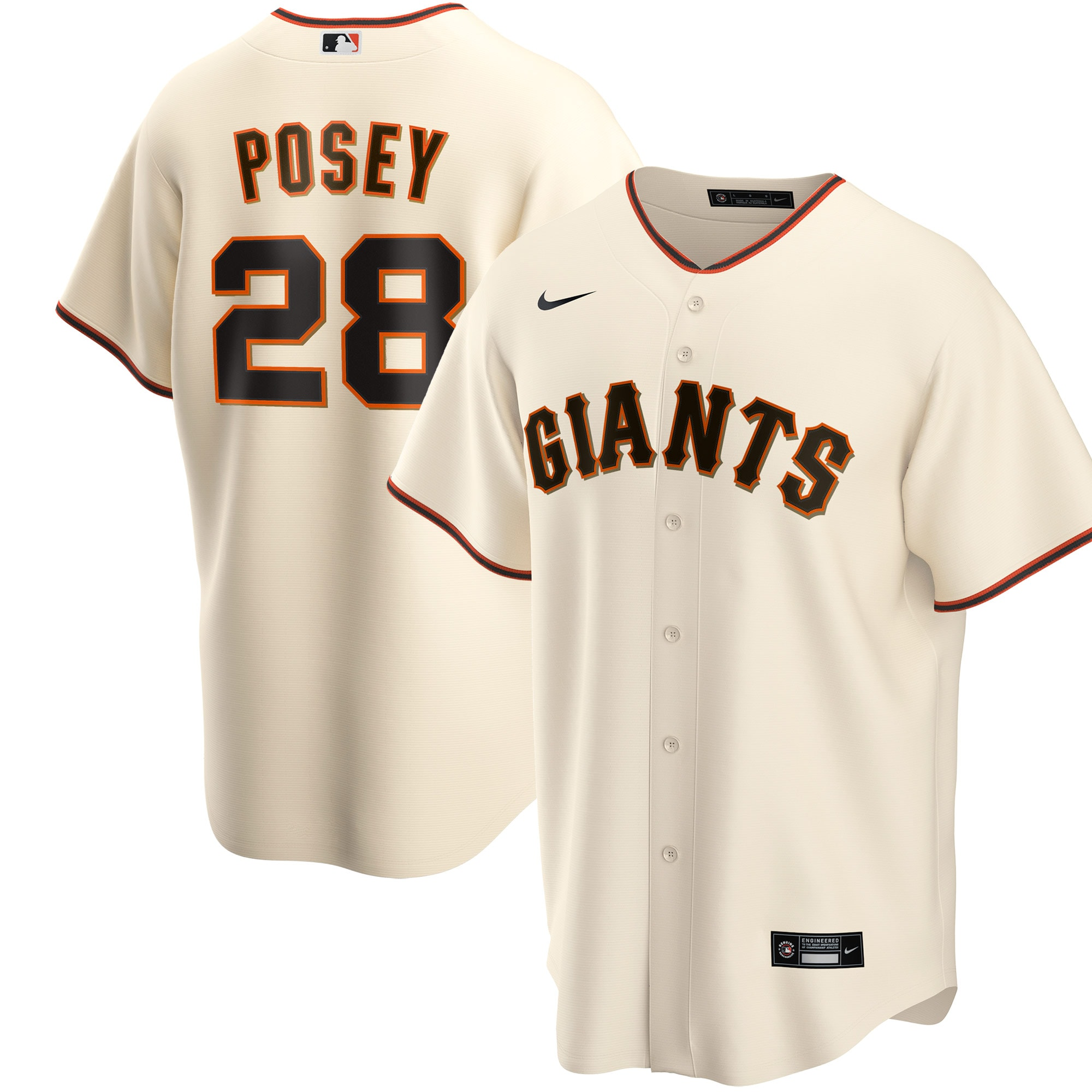 Buster Posey San Francisco Giants Nike Youth Home 2020 Replica Player Jersey - Cream