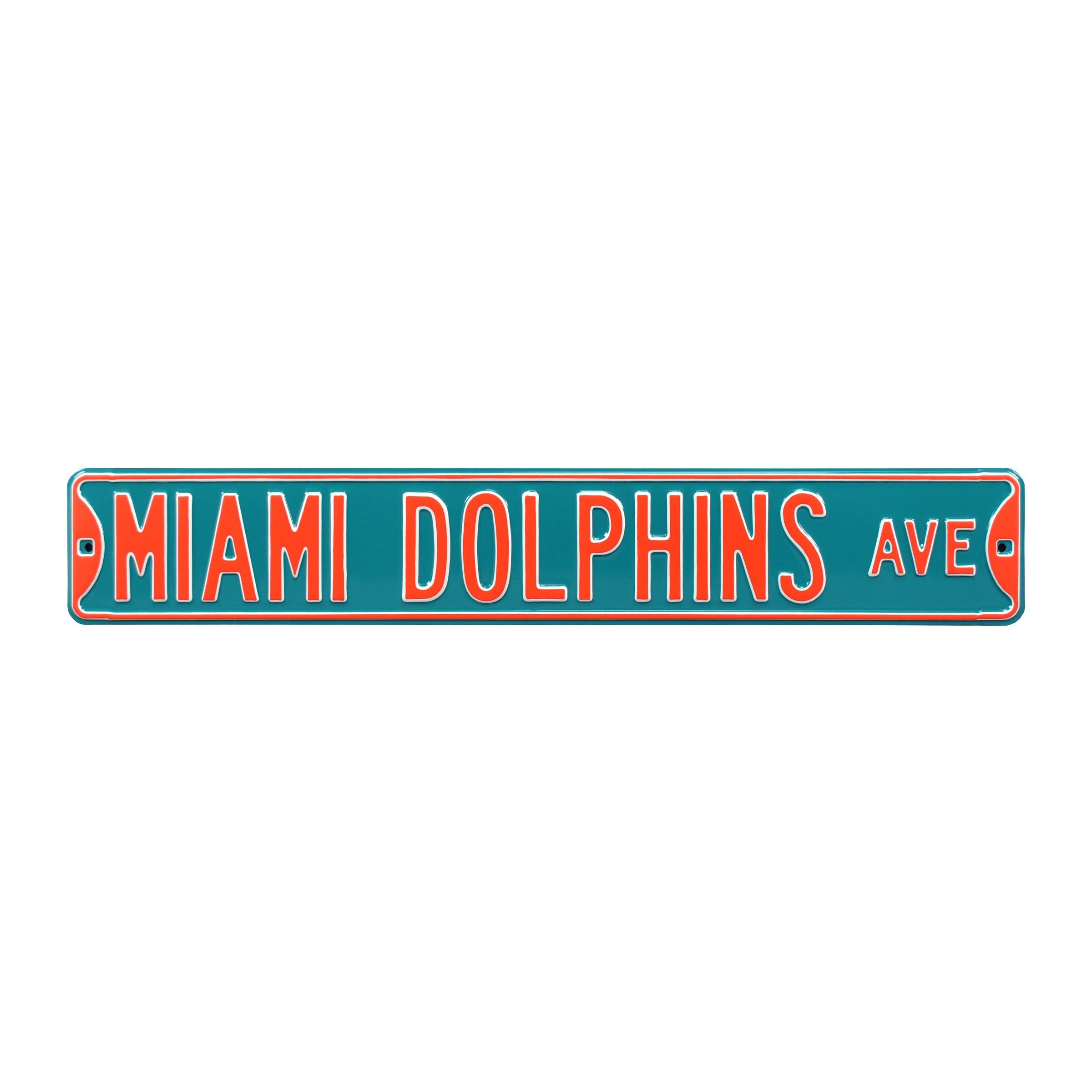 """Miami Dolphins 6"""" x 36"""" Steel Street Sign - Aqua"""