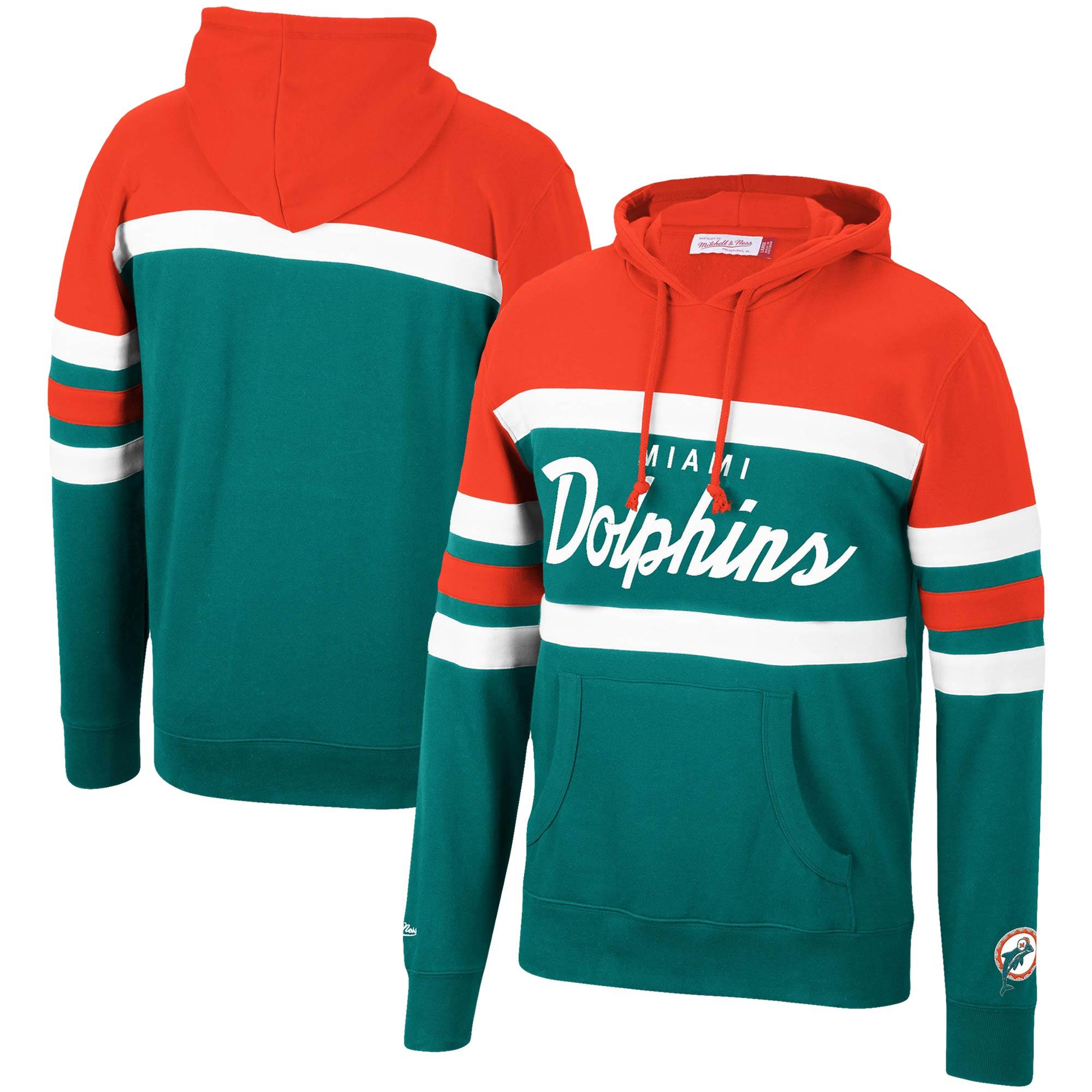 Miami Dolphins Mitchell & Ness Head Coach Pullover Hoodie - Orange