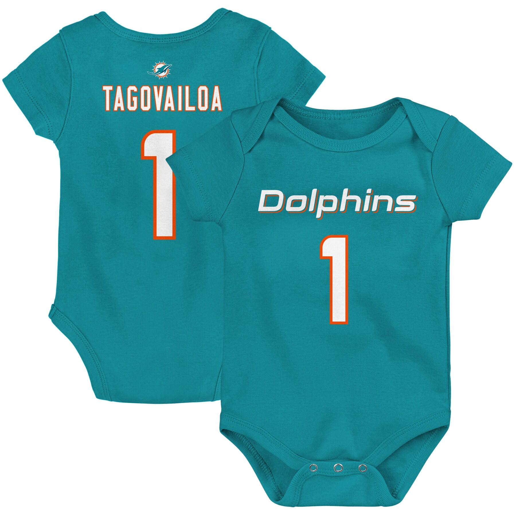 Tua Tagovailoa Miami Dolphins Newborn Mainliner Player Name & Number Bodysuit - Aqua