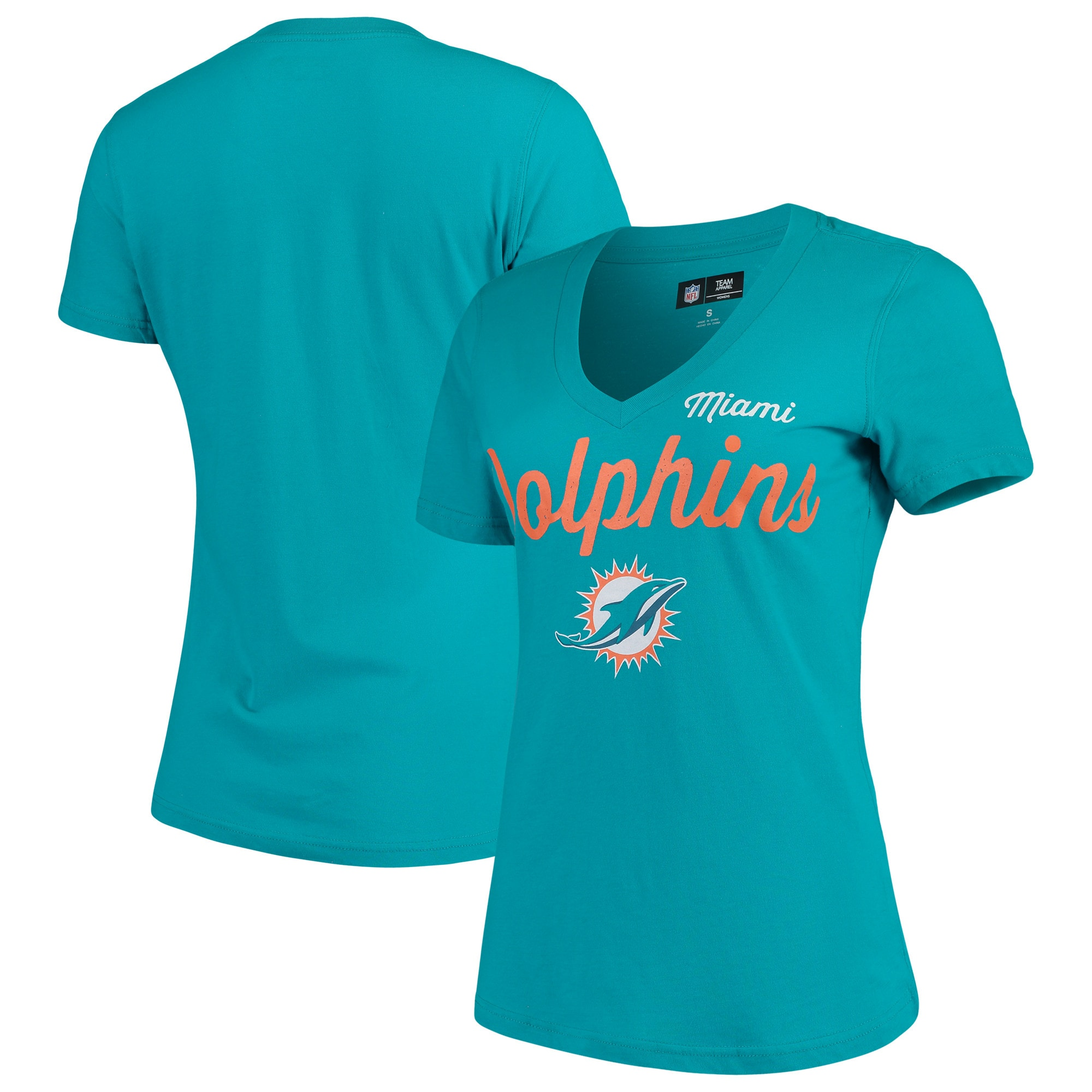 Miami Dolphins G-III 4Her by Carl Banks Women's Post Season V-Neck T-Shirt - Aqua