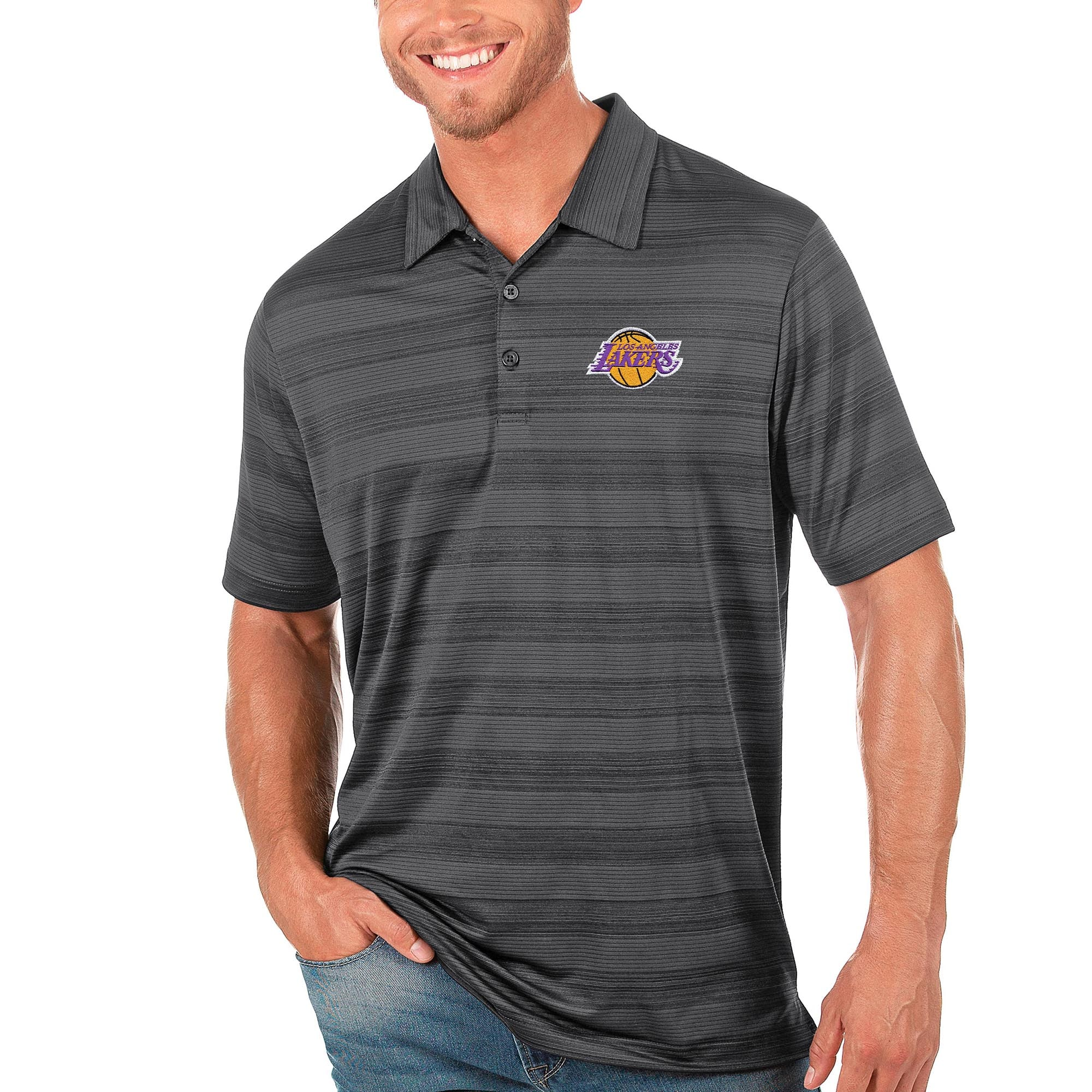 Los Angeles Lakers Antigua Compass Polo - Gray