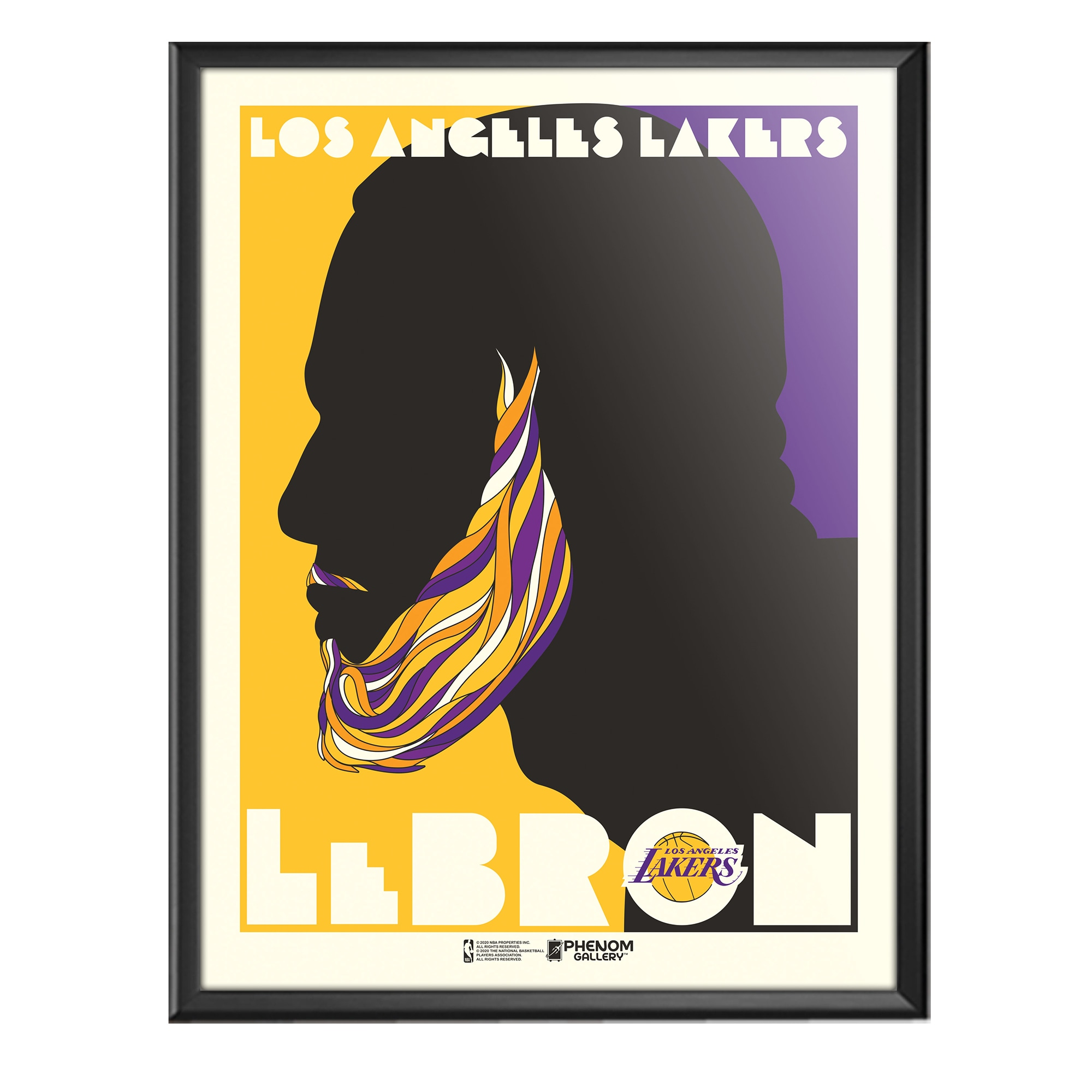 LeBron James Los Angeles Lakers 18'' x 24'' Push Glass Framed Serigraph