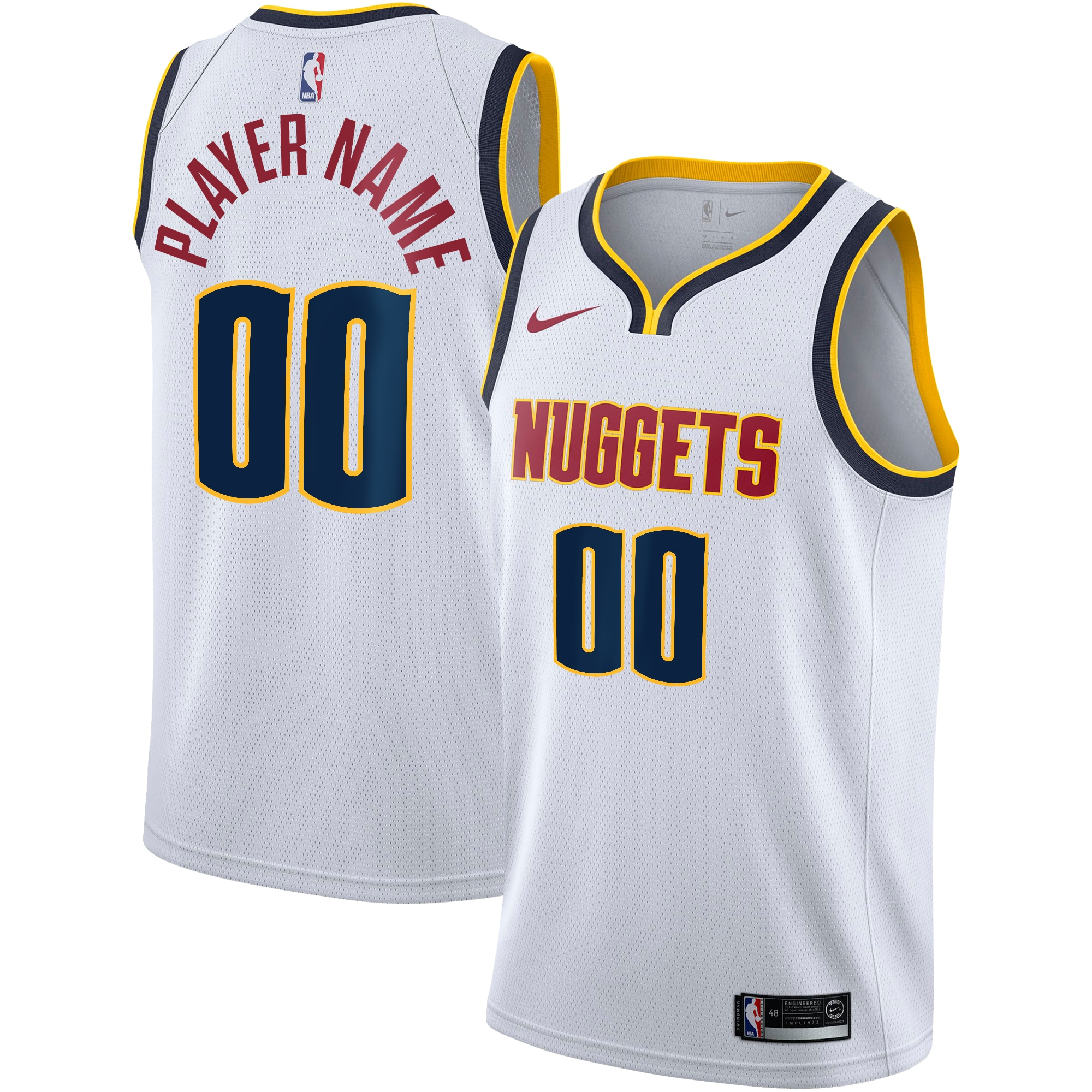 Denver Nuggets Nike Swingman Custom Jersey - Association Edition - White