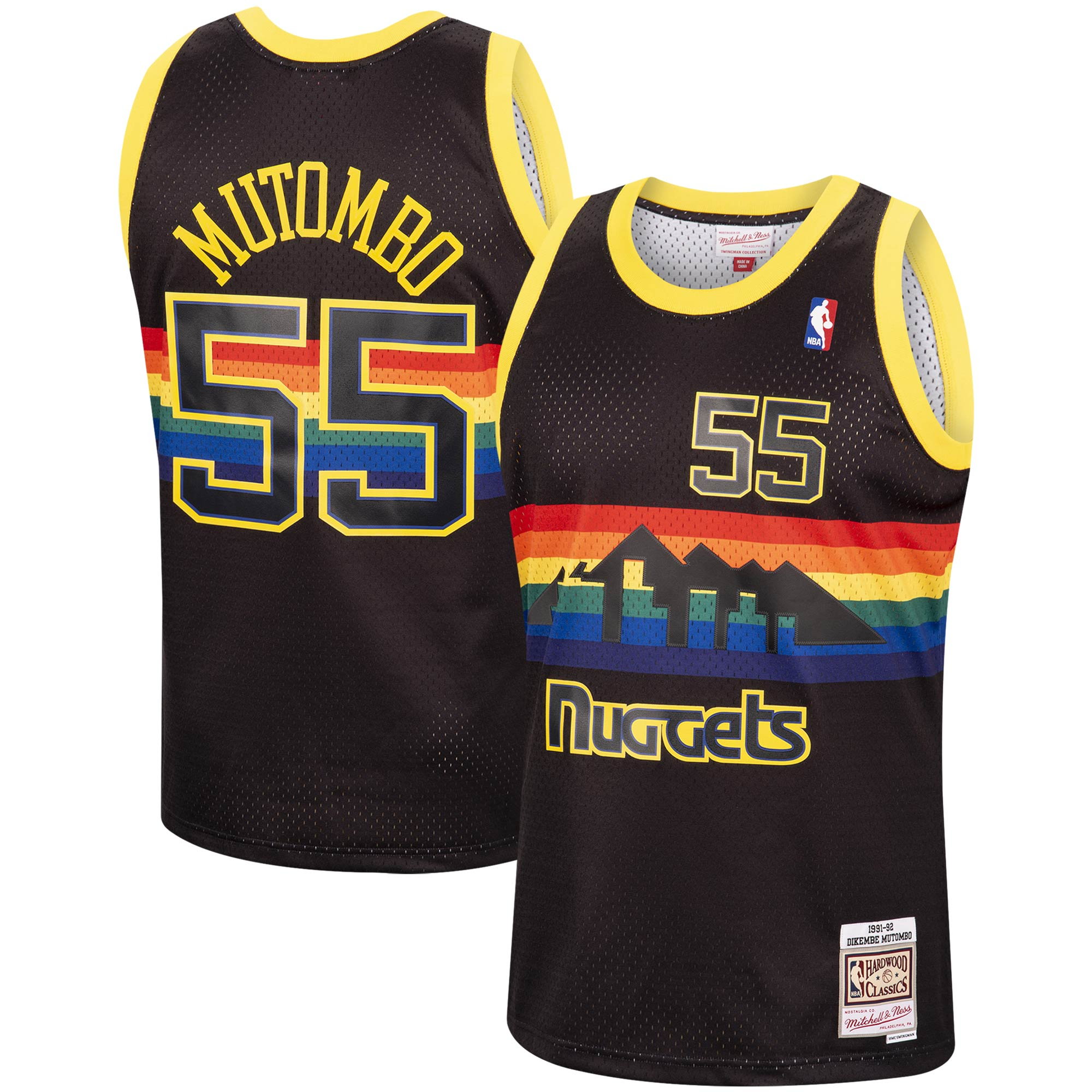 Dikembe Mutombo Denver Nuggets Mitchell & Ness 1991-92 Hardwood Classics Reload Swingman Jersey - Black