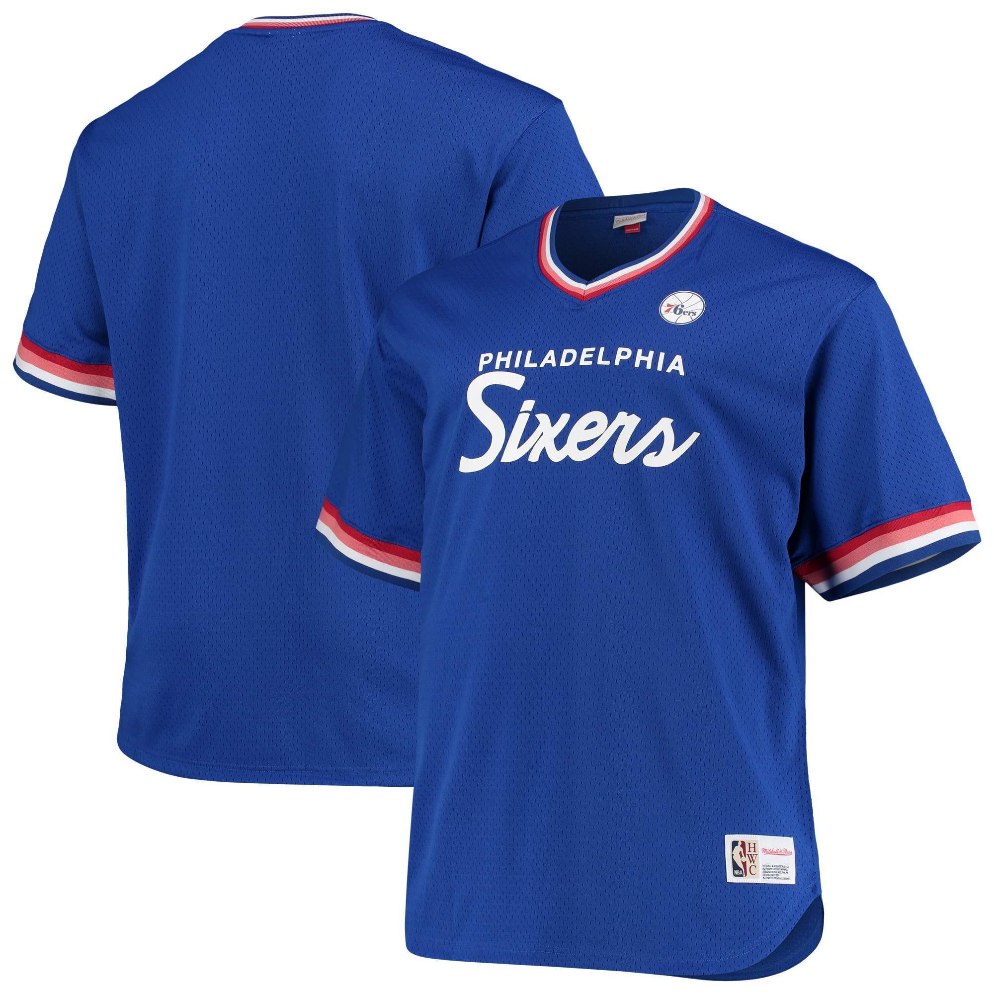Philadelphia 76ers Mitchell & Ness Big & Tall Hardwood Classics Mesh Script V-Neck Jersey T-Shirt - Royal