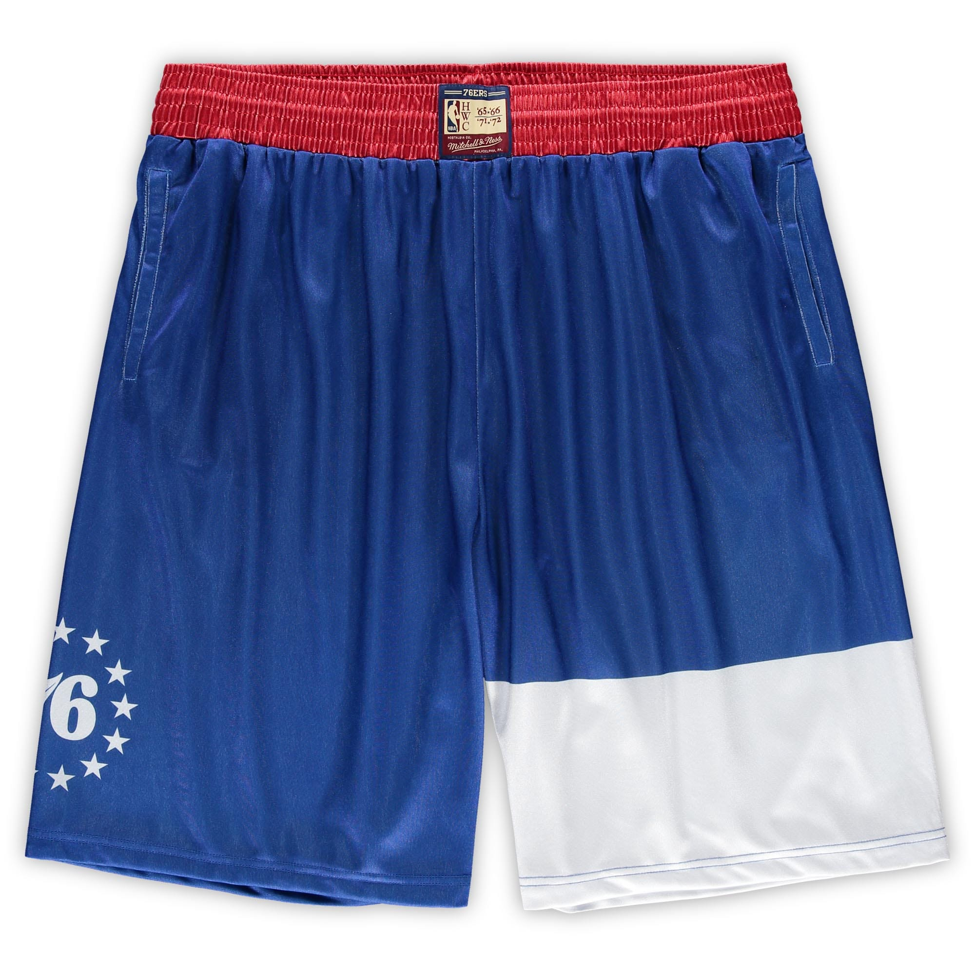 Philadelphia 76ers Mitchell & Ness Hardwood Classics Big & Tall Team Heritage Dazzle Shorts - Royal