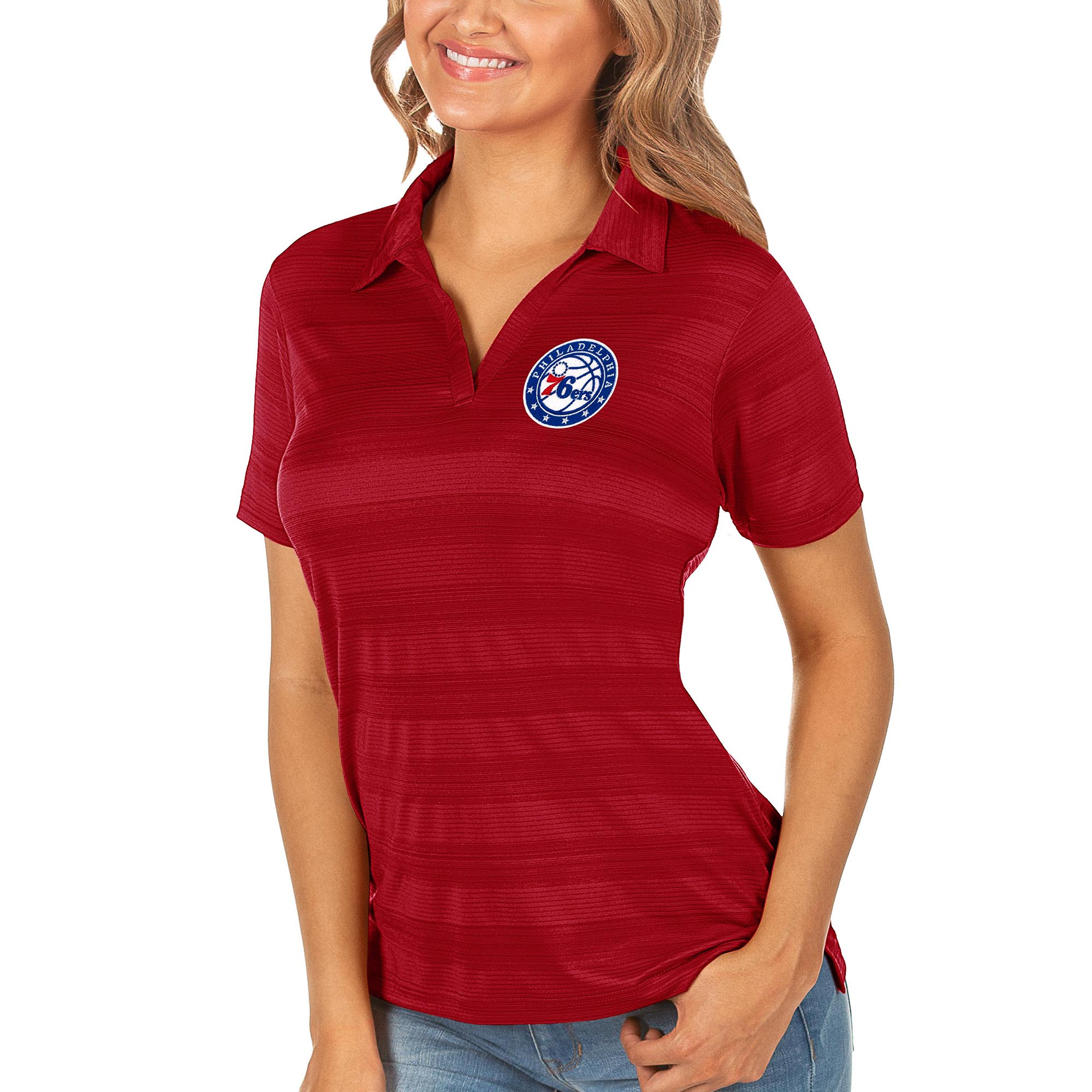 Philadelphia 76ers Antigua Women's Compass Polo - Red