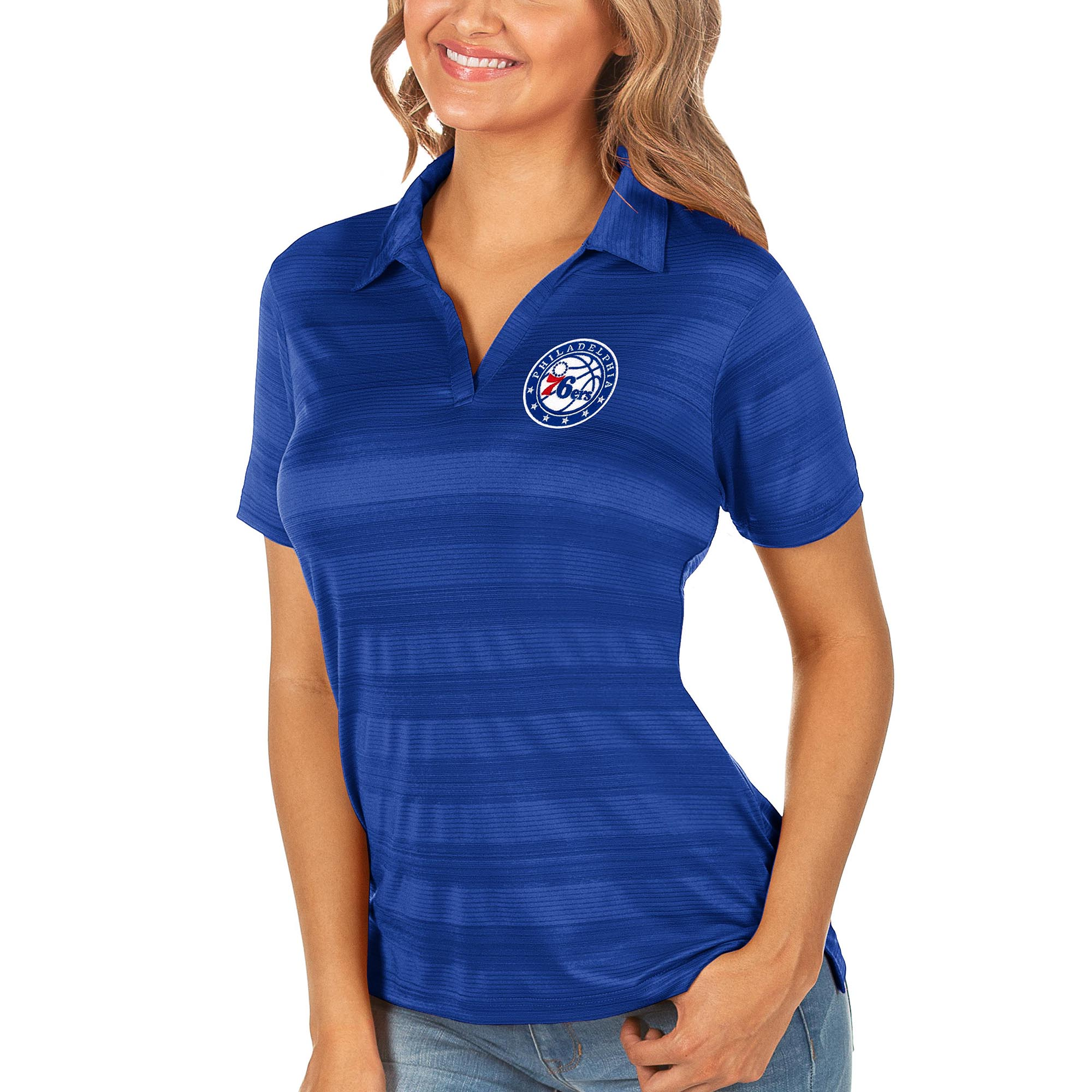 Philadelphia 76ers Antigua Women's Compass Polo - Royal