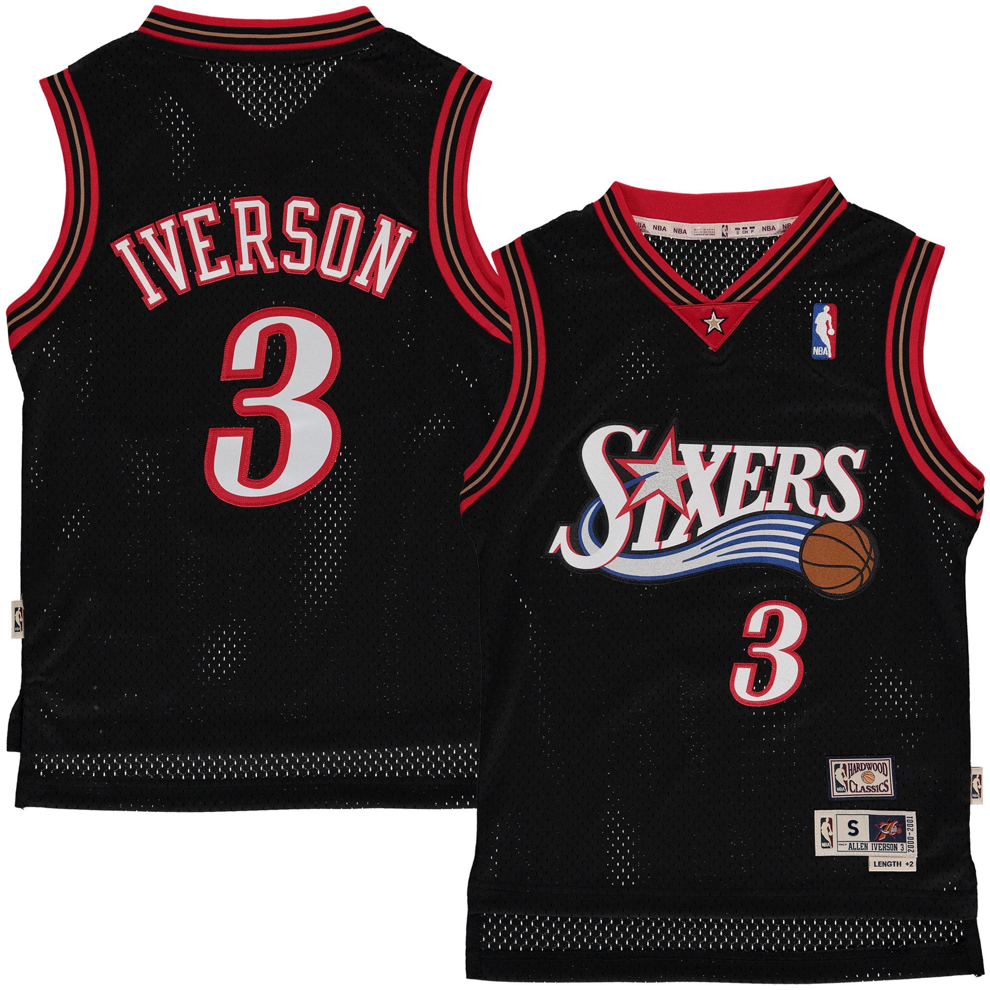 Allen Iverson Philadelphia 76ers Mitchell & Ness Youth Hardwood Classics Swingman Jersey - Black
