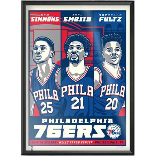 Philadelphia 76ers 18'' x 24'' Framed Serigraph